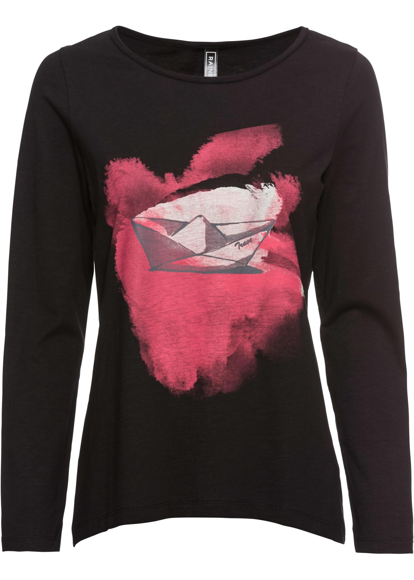 À Rainbow BonprixT shirt Pour Noir Manches Femme Imprimé Longues DW9Y2IHE
