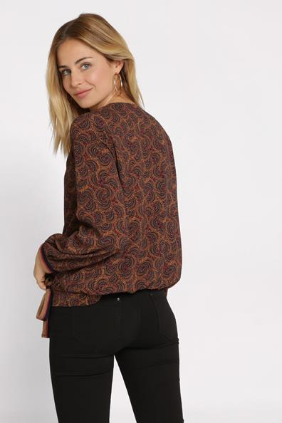 ElasthanneFemme Bleu Cache Blouse Taille Longues Noué Manches 34 Nwn0m8yvO