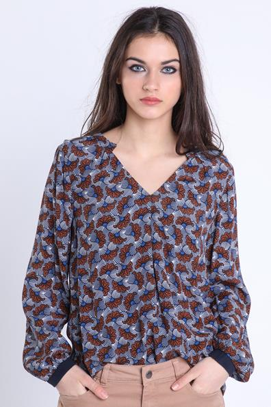 Bonobo Manches Bleu Taille Blouse Longues L ViscoseFemme Fluide CxerodB