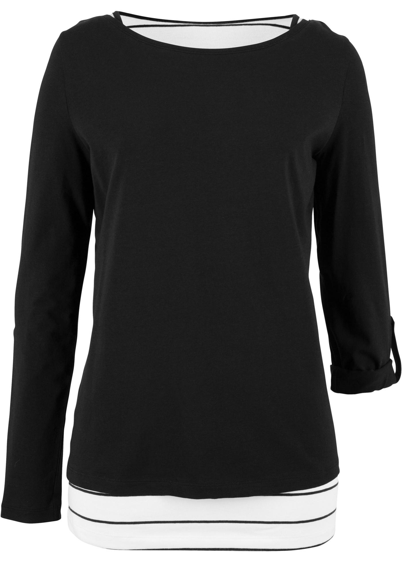 Noir Bpc Style Bonprix shirt Manches Double Épaisseur Pour CollectionT Longues Femme YgbI7yvf6