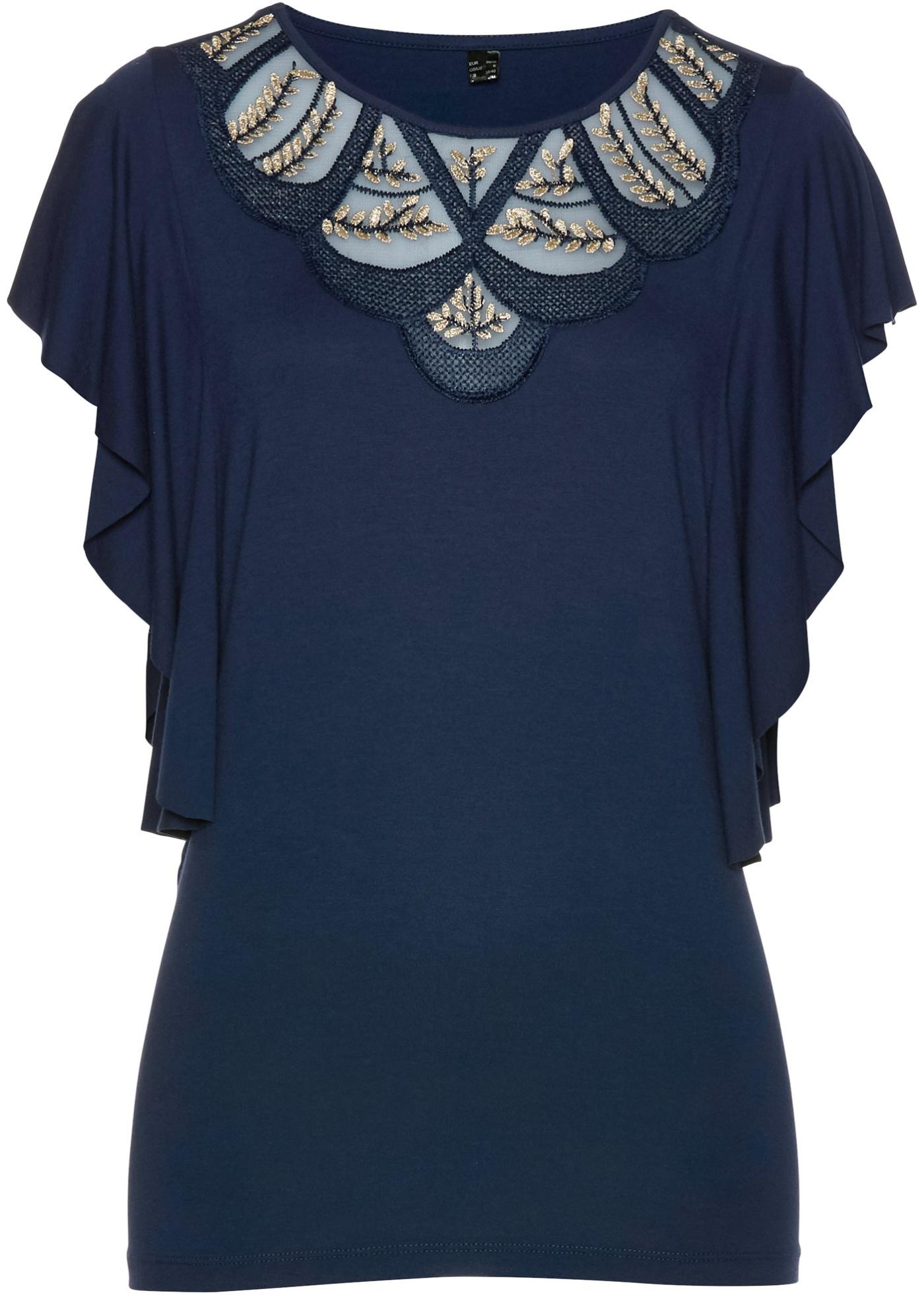 Selection shirt Manches Bpc Mi BonprixT Bleu Pour À longues Premium Femme Dentelle XOuZPkiT