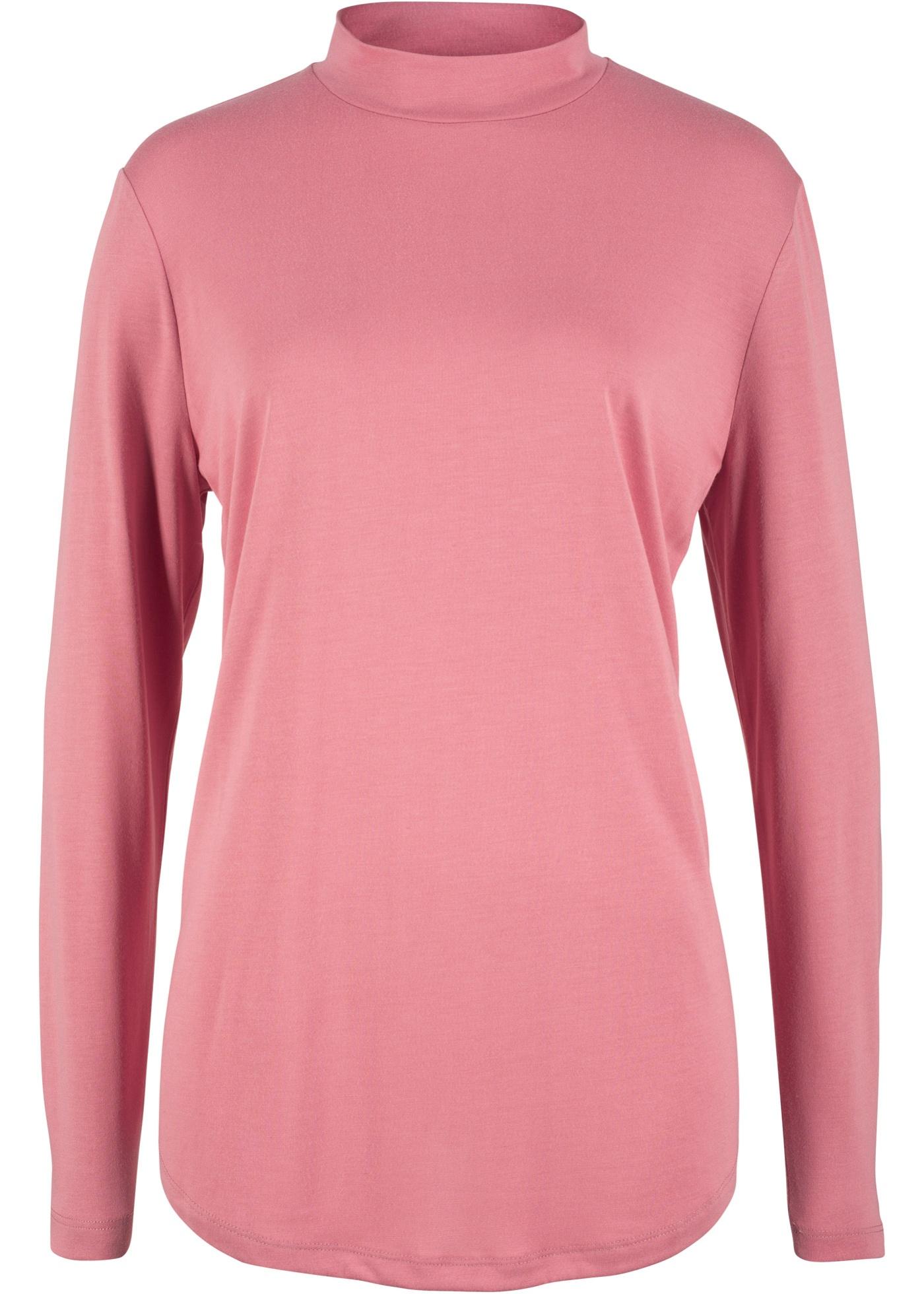 Manches À Bonprix shirt Longues Bpc Pour CollectionT Montant Femme Rose Col q3L4c5RAj