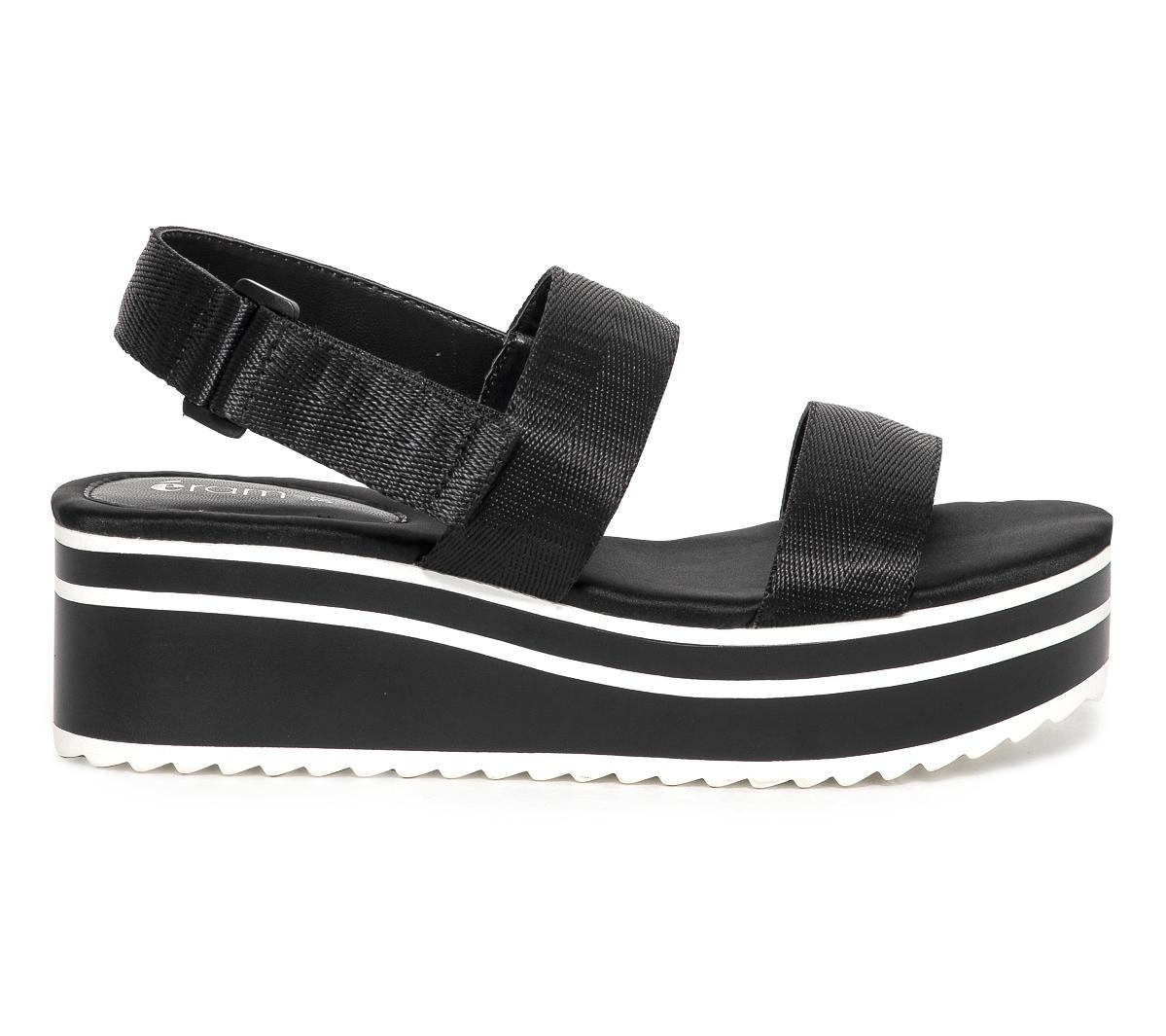 Eram Compensée Sandale Noire Et Blanche 29IWHDYE