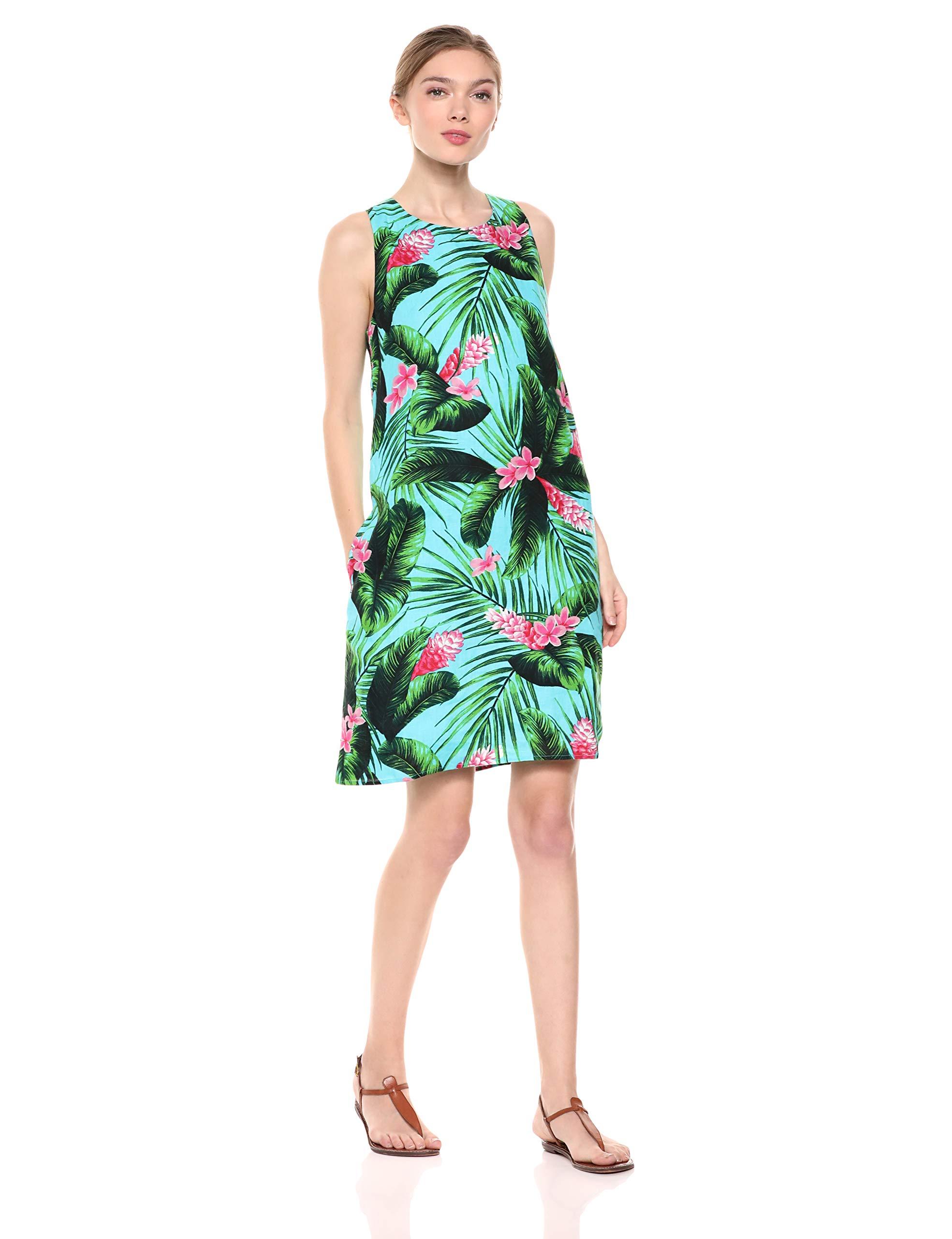LeuXl Shift DressAqua 100Linen pink 28 Hawaiian TropicalUs Print Palms Ginger g67fyb