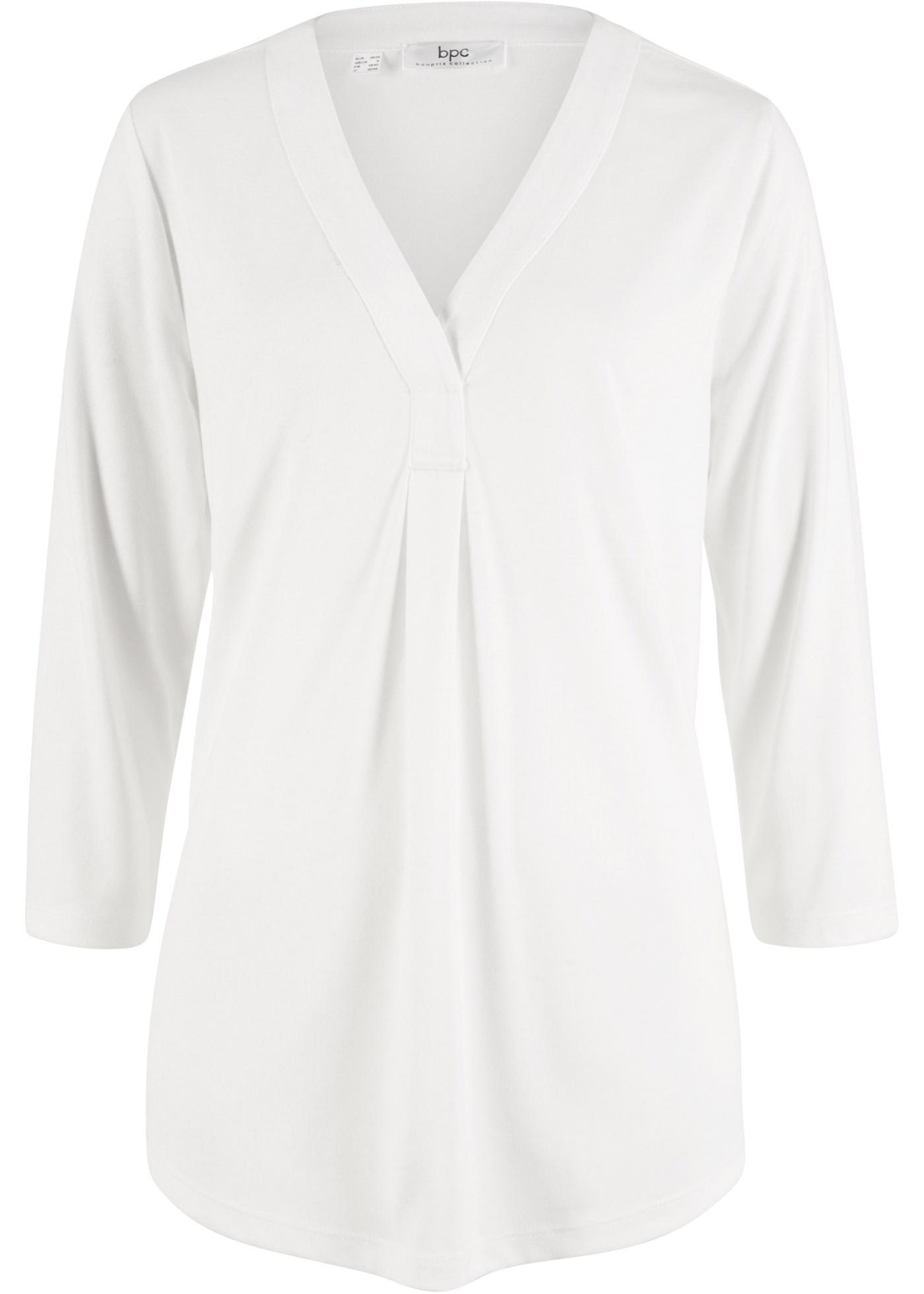 Femme CollectionT shirt En Manches Mélange Modal Bonprix Fluide Bpc 4 Blanc 3 Pour b6fgIyv7Ym