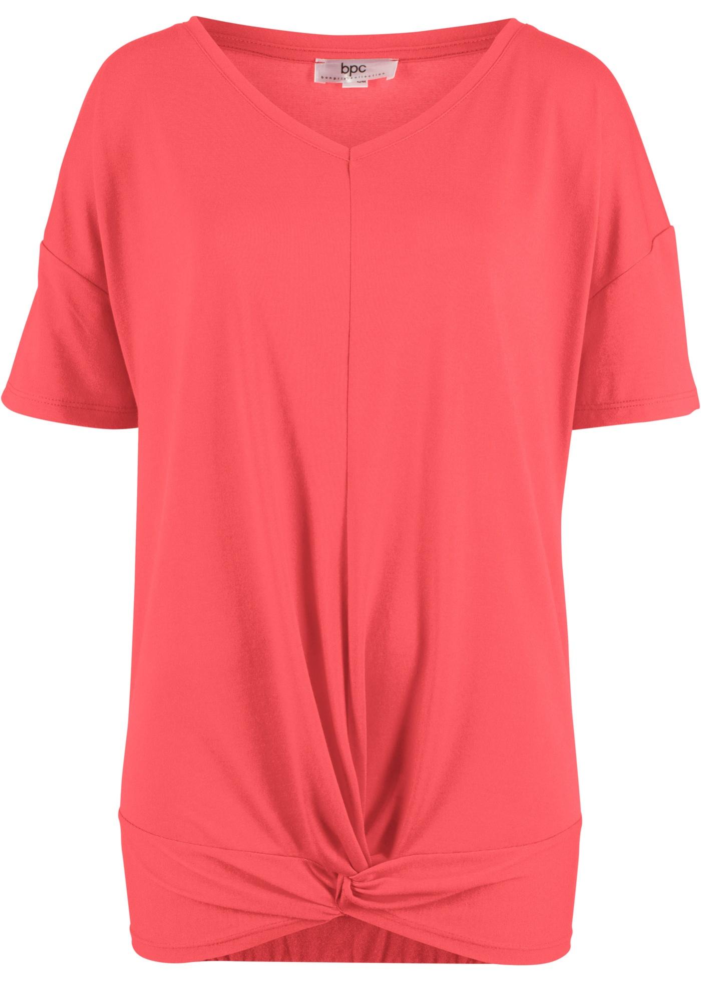 Courtes En Pour Noué Manches Mélange Bonprix CollectionT Bpc Femme Fluide Rouge shirt Modal CsrhxtdQ
