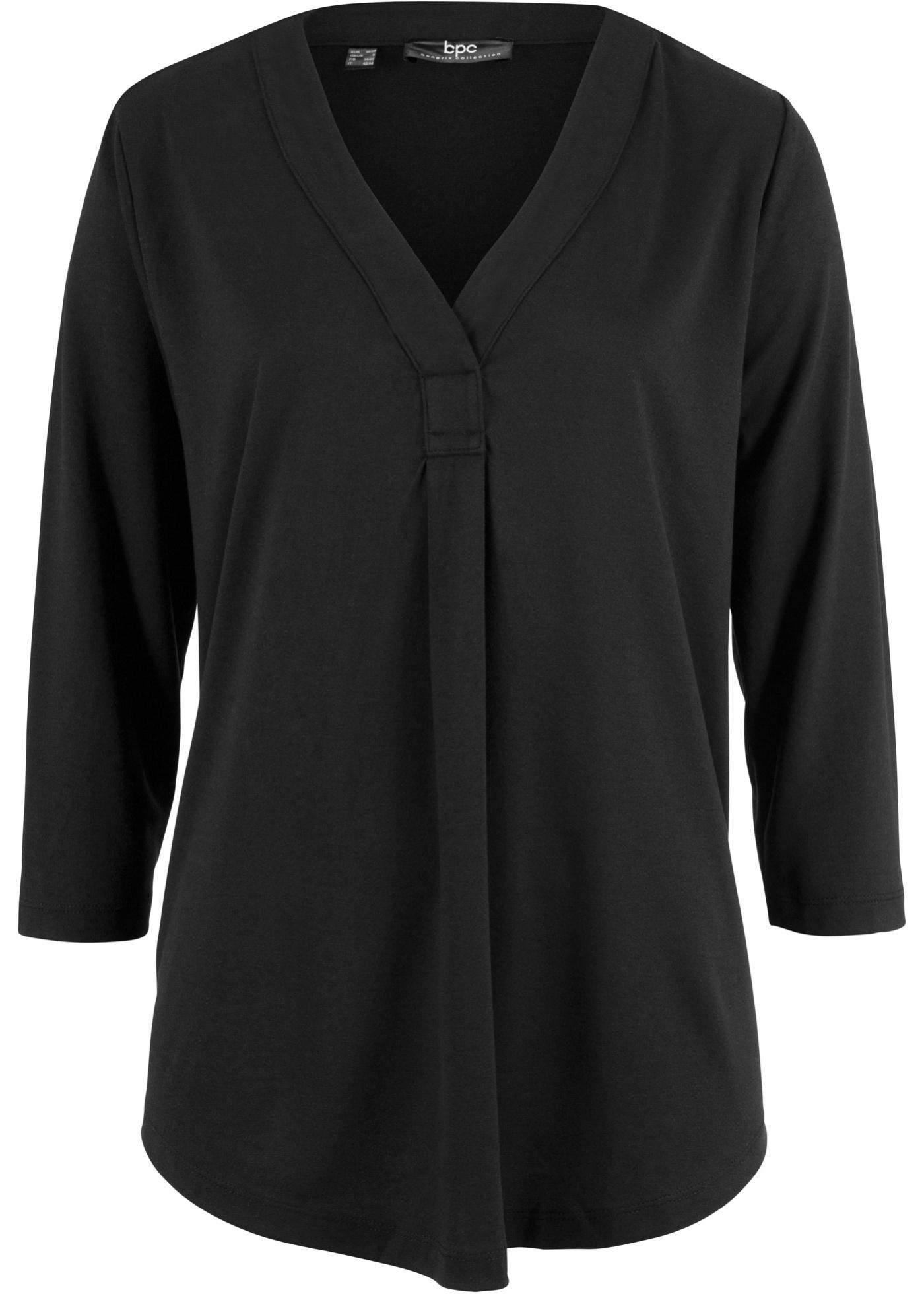 Noir Mélange shirt Modal Bonprix Fluide CollectionT 3 Femme Bpc Pour 4 En Manches wklPXTiuOZ
