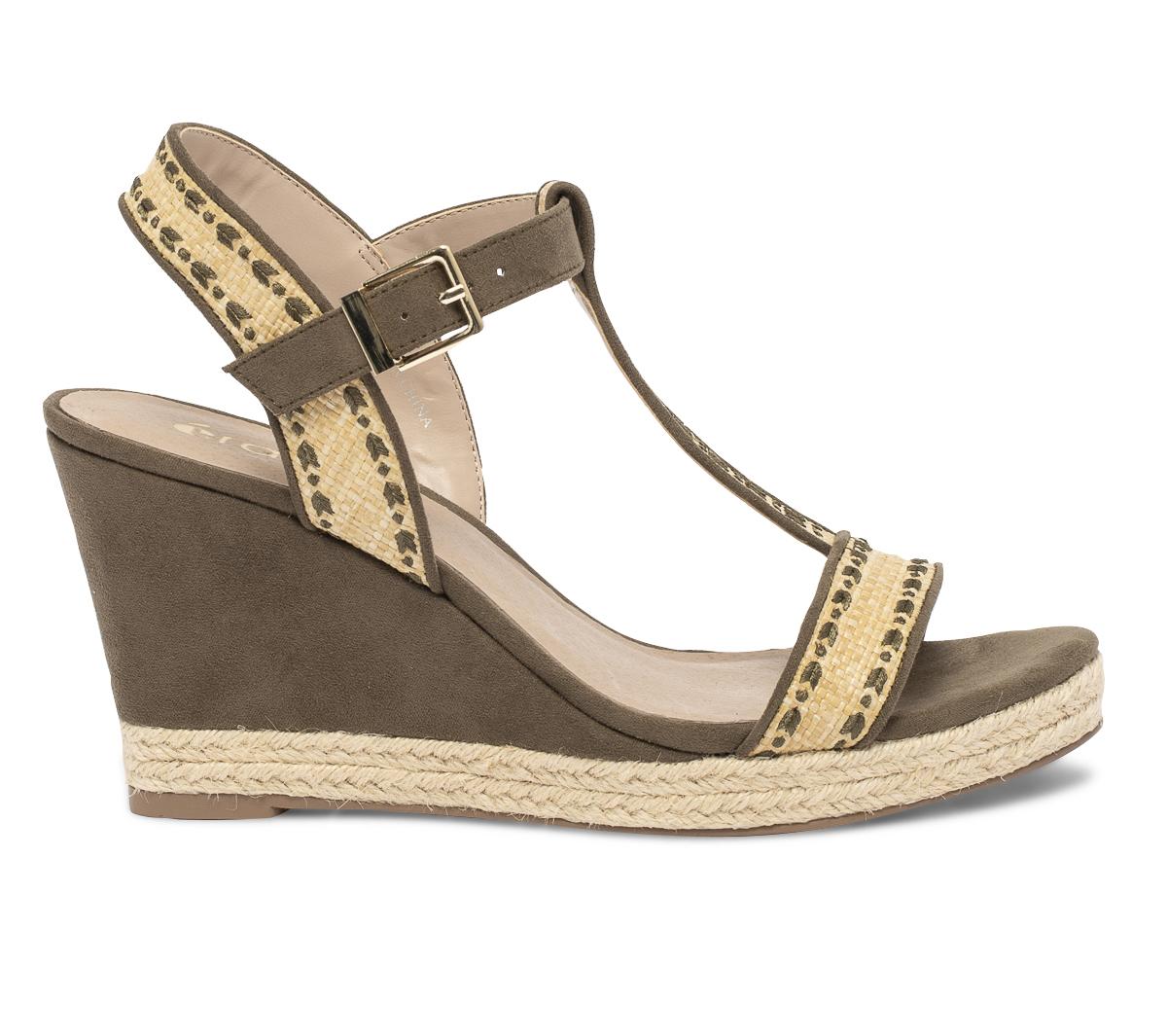 Compensée Sandale Compensée Kaki Brodée Brodée Eram Eram Sandale Compensée Sandale Eram Kaki deWCroxB