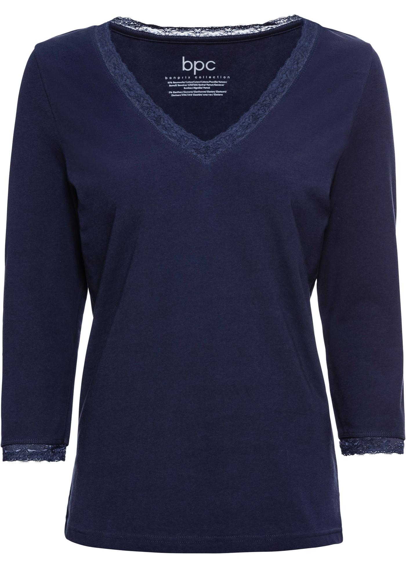 Bonprix À Pour shirt CollectionT Nuit 3 4 Femme Bpc Manches De Bleu yn0Om8Nvw
