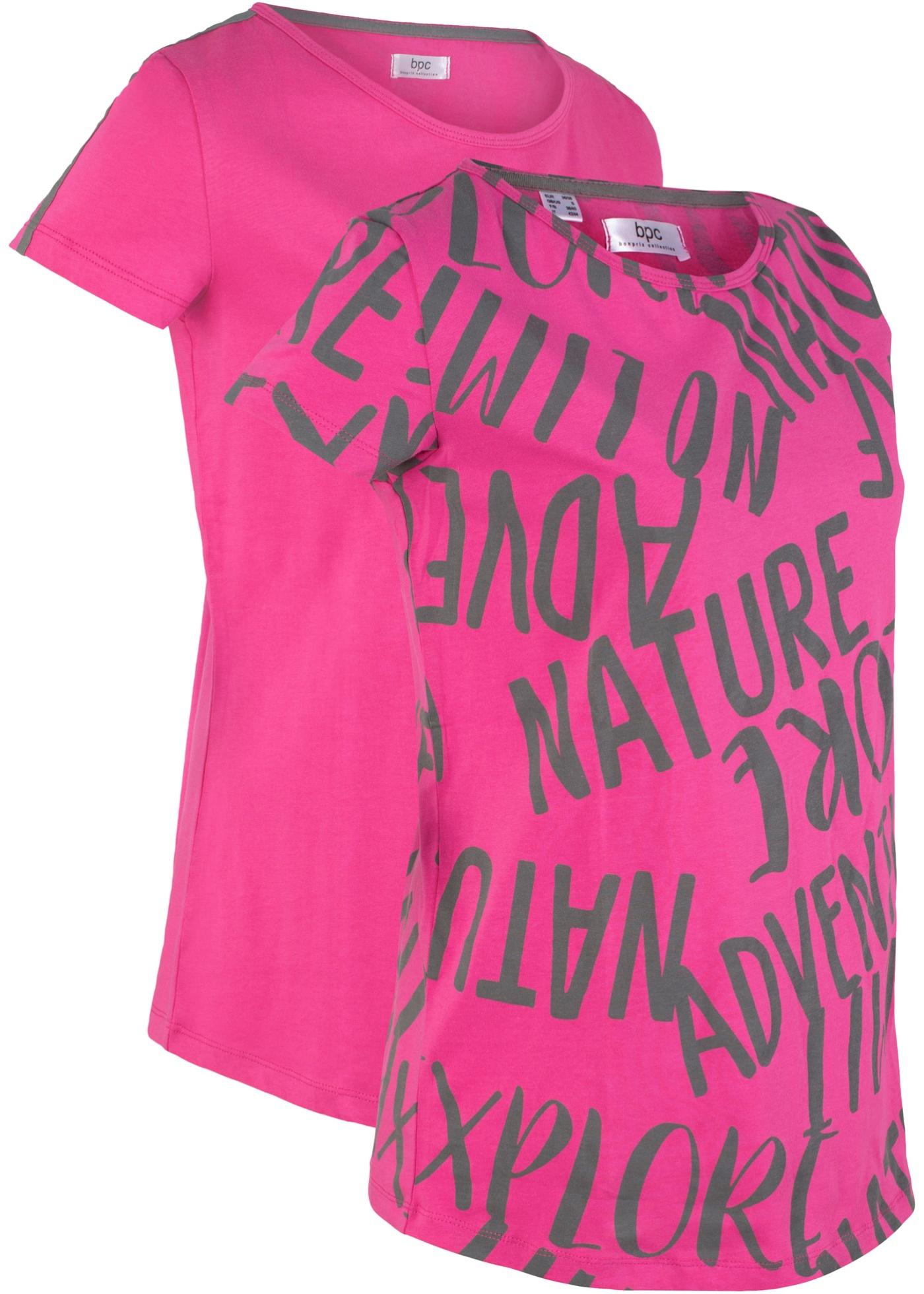 Sport De T CotonManches Fuchsia Pour Femme Bonprix CollectionLot 2 shirts Bpc Courtes En PkXZuOi