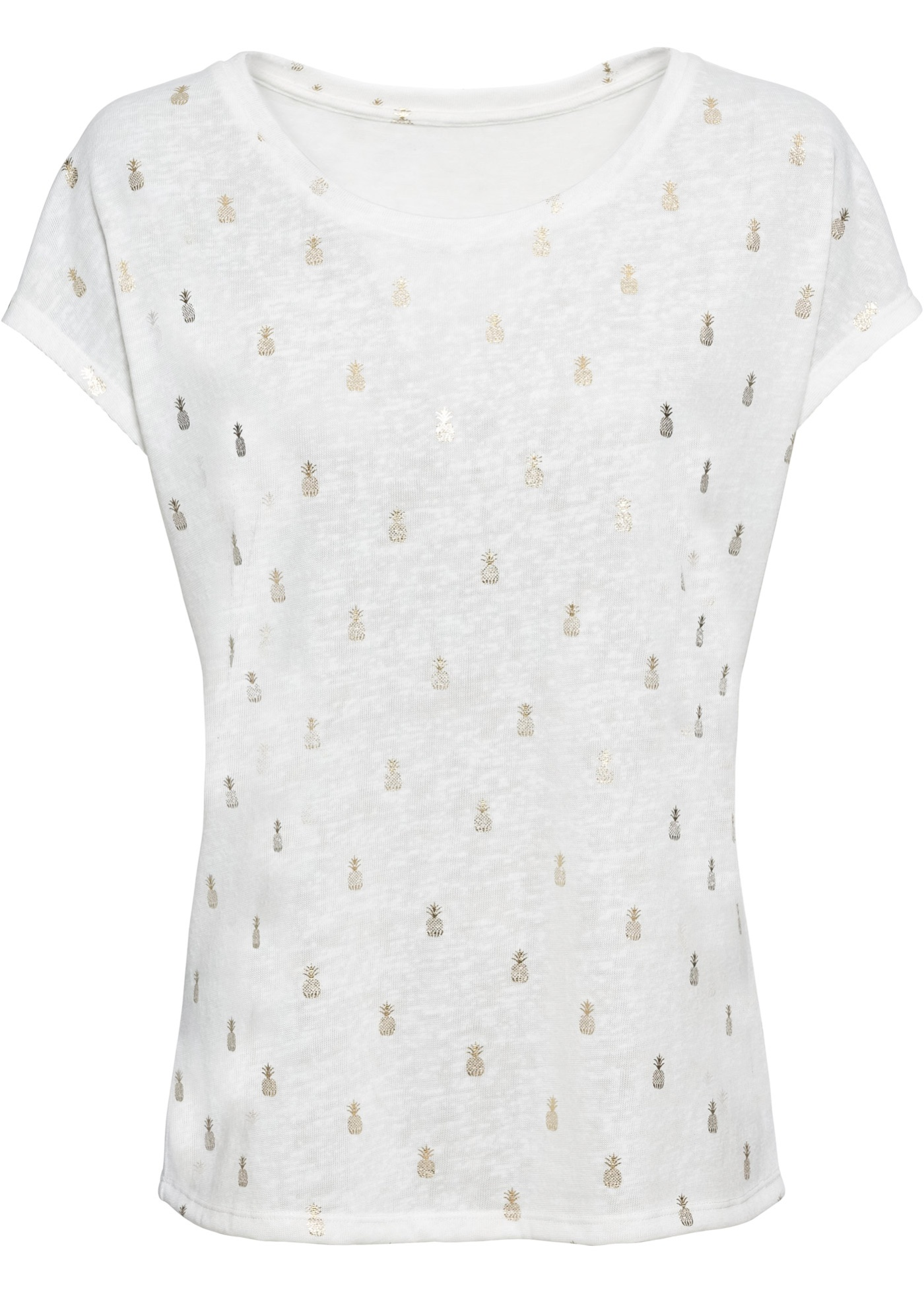 En À Pour Feuille shirt Blanc Imprimé Manches Bodyflirt BonprixT Brillante Courtes Femme f6b7gy