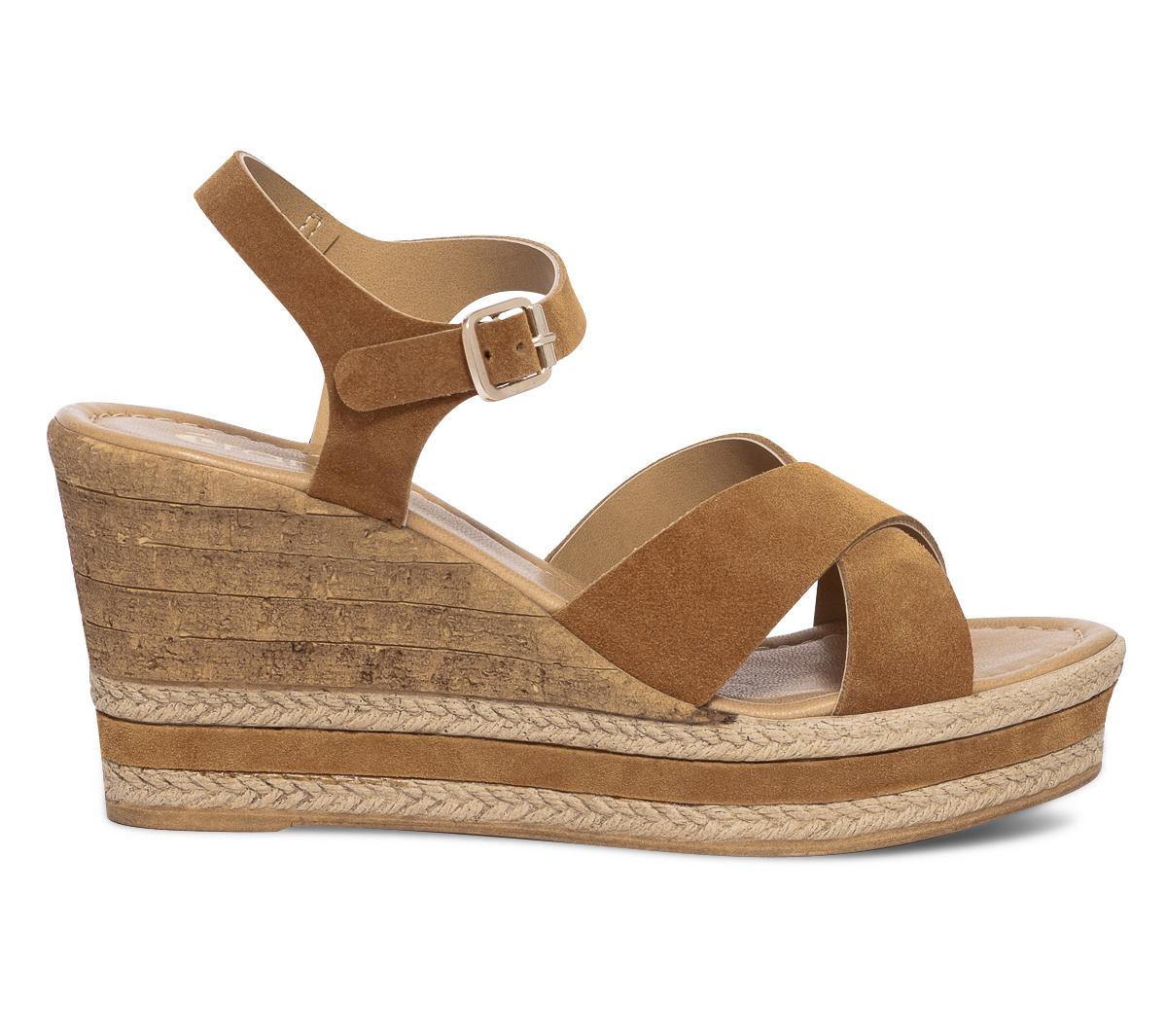 Velours Eram Sandale Compensée En Camel Cuir MSVUzp