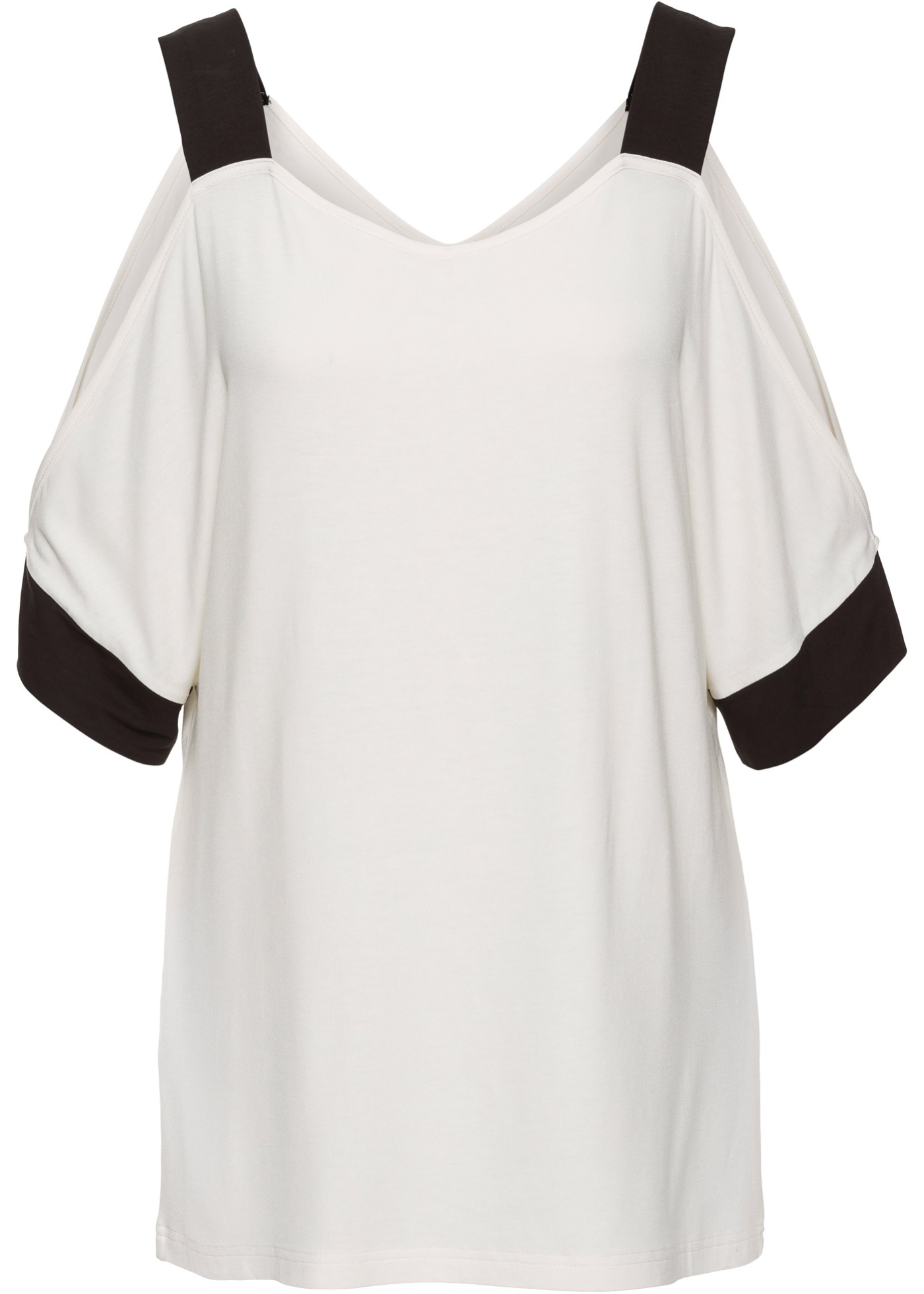 Bodyflirt Avec Femme BonprixT Blanc Découpes Manches Pour Mi shirt longues O0vmN8nw