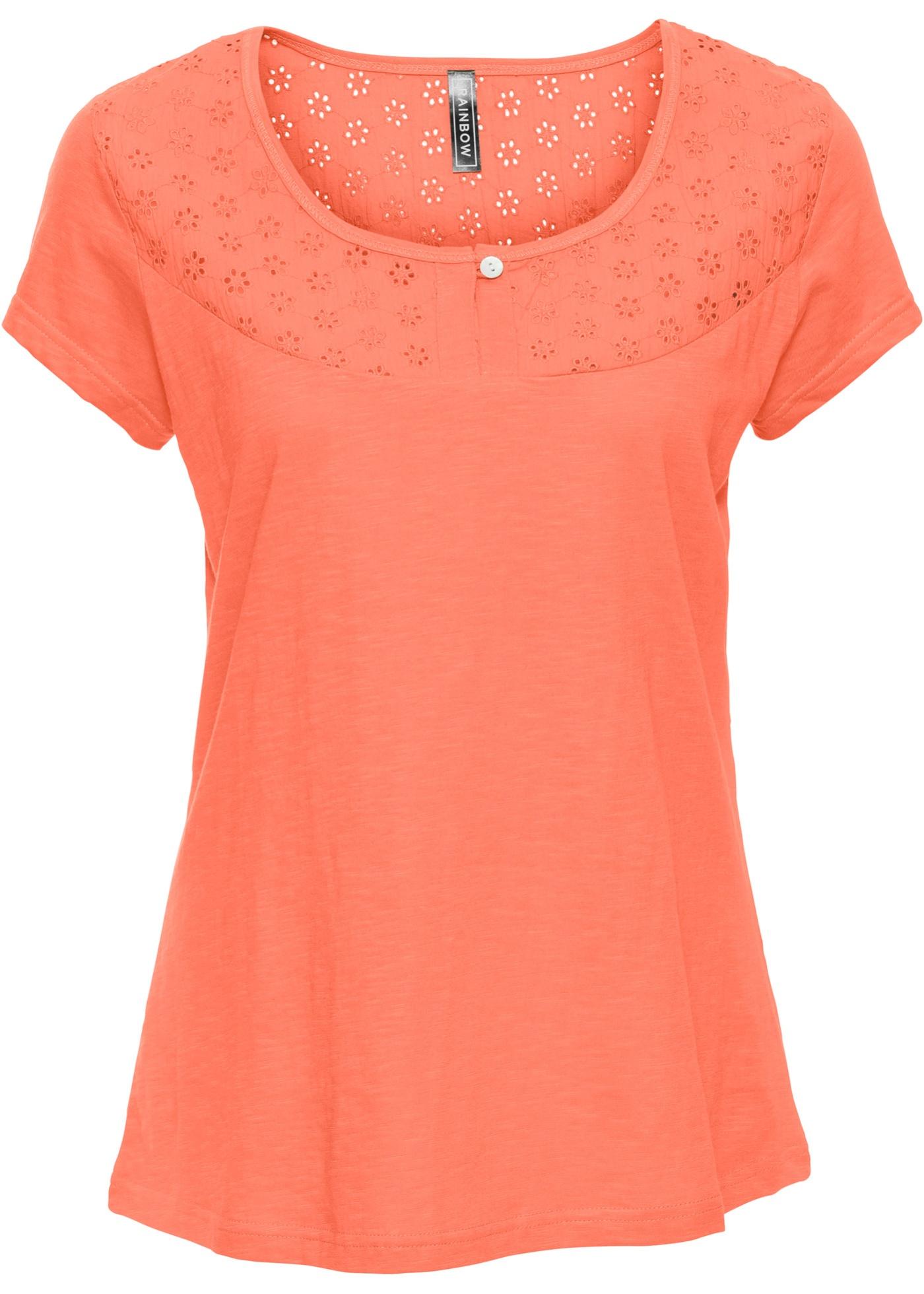 Rainbow Avec Orange Femme shirt Motif Manches Courtes Pour BonprixT Ajouré uOPXZik