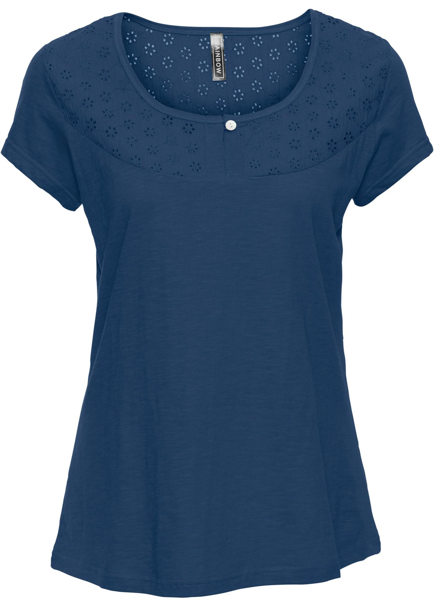 Femme Courtes BonprixT Manches Pour Bleu Avec Motif Ajouré shirt Rainbow PkX0O8nNw