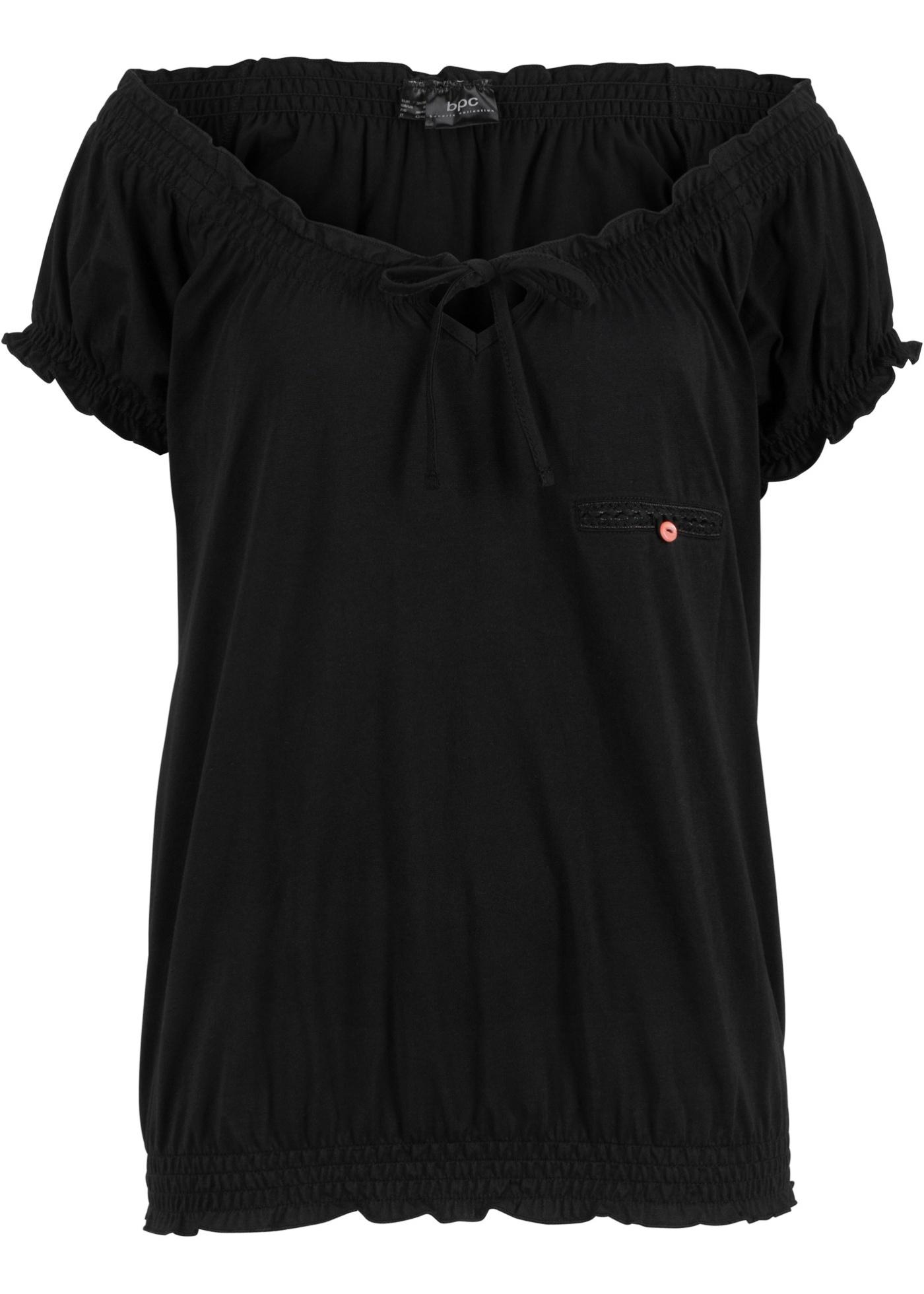 shirt Courtes Bpc CollectionT Pour Noir Manches Bonprix Femme yYfg76bv