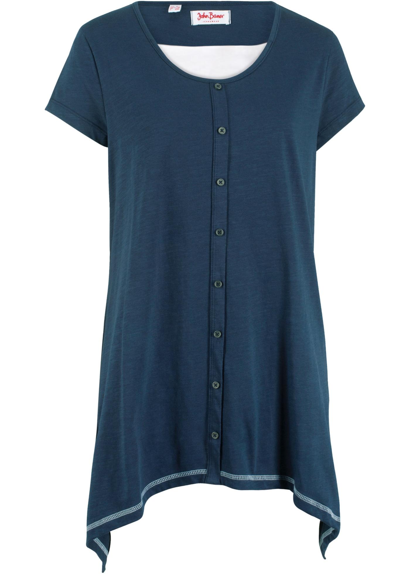 Coton Style shirt Épaisseur Pour Manches John Courtes Double BonprixT Jeanswear Bleu Baner Femme J1TKcF3l