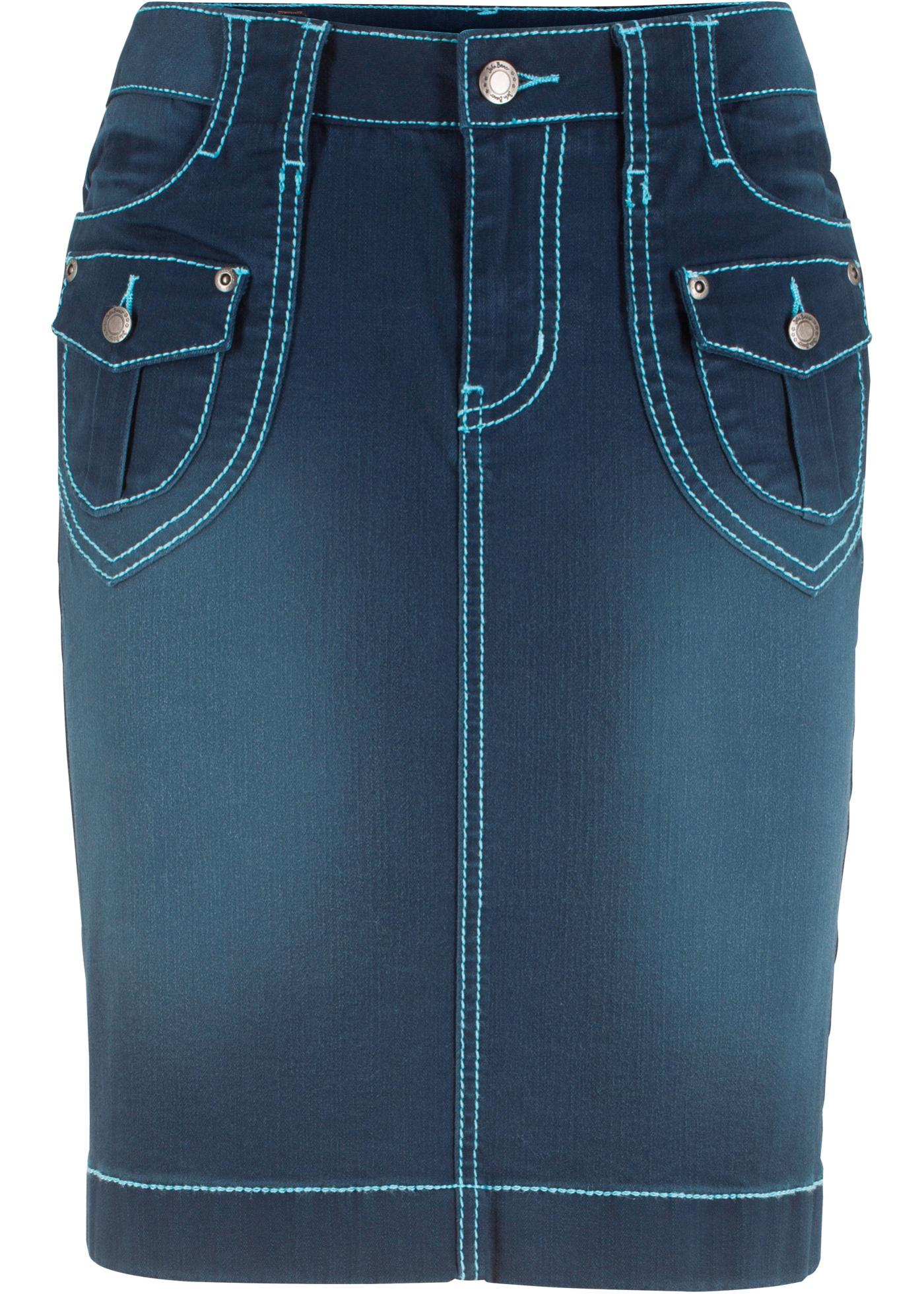 Bleu Jeanswear BonprixJupe Pour John Jean Extensible Authentique Femme Baner En L34q5ARj