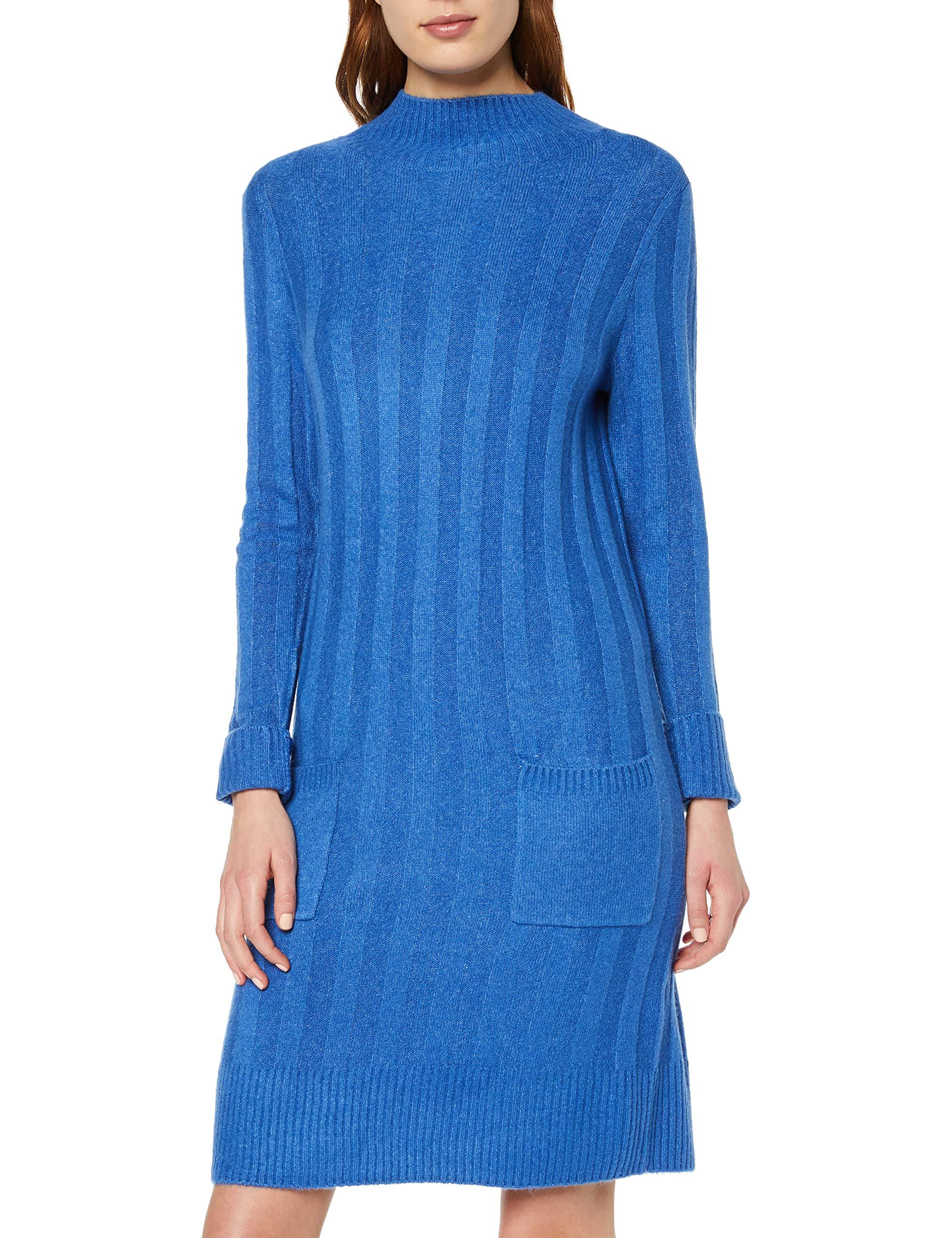 Tom Mit Hohem Tailor Fabricant40Femme RobeBleusapphire Weiches Up Stand Blue Casual 1135642taille Strickkleid Kragen XukZiTOP