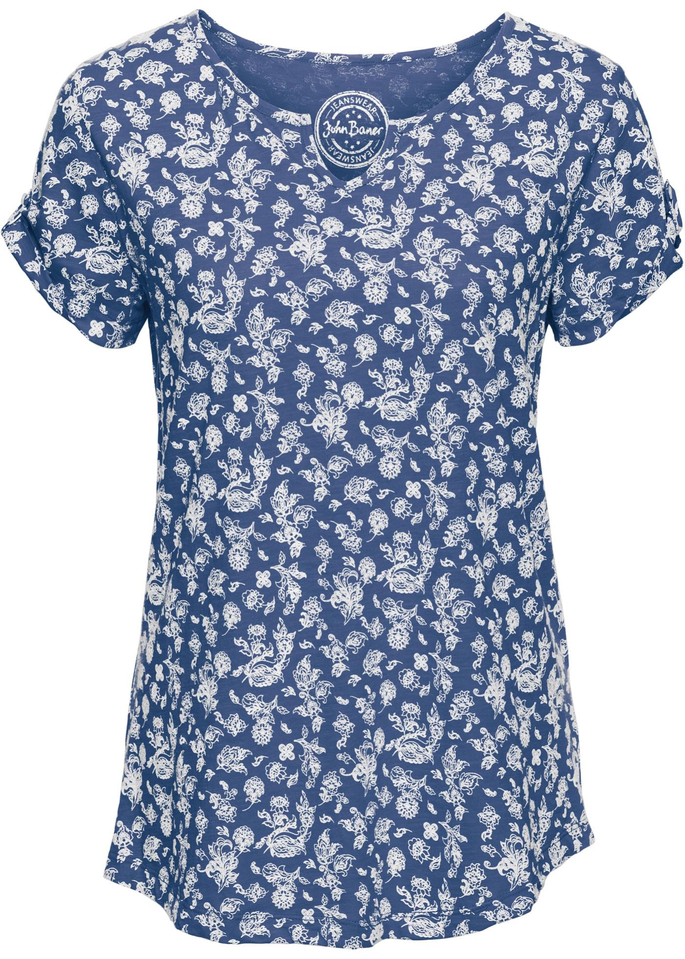 John Imprimé À Courtes Pour shirt BonprixT Manches Baner Femme Coton Bleu Jeanswear 1clFJ5uTK3