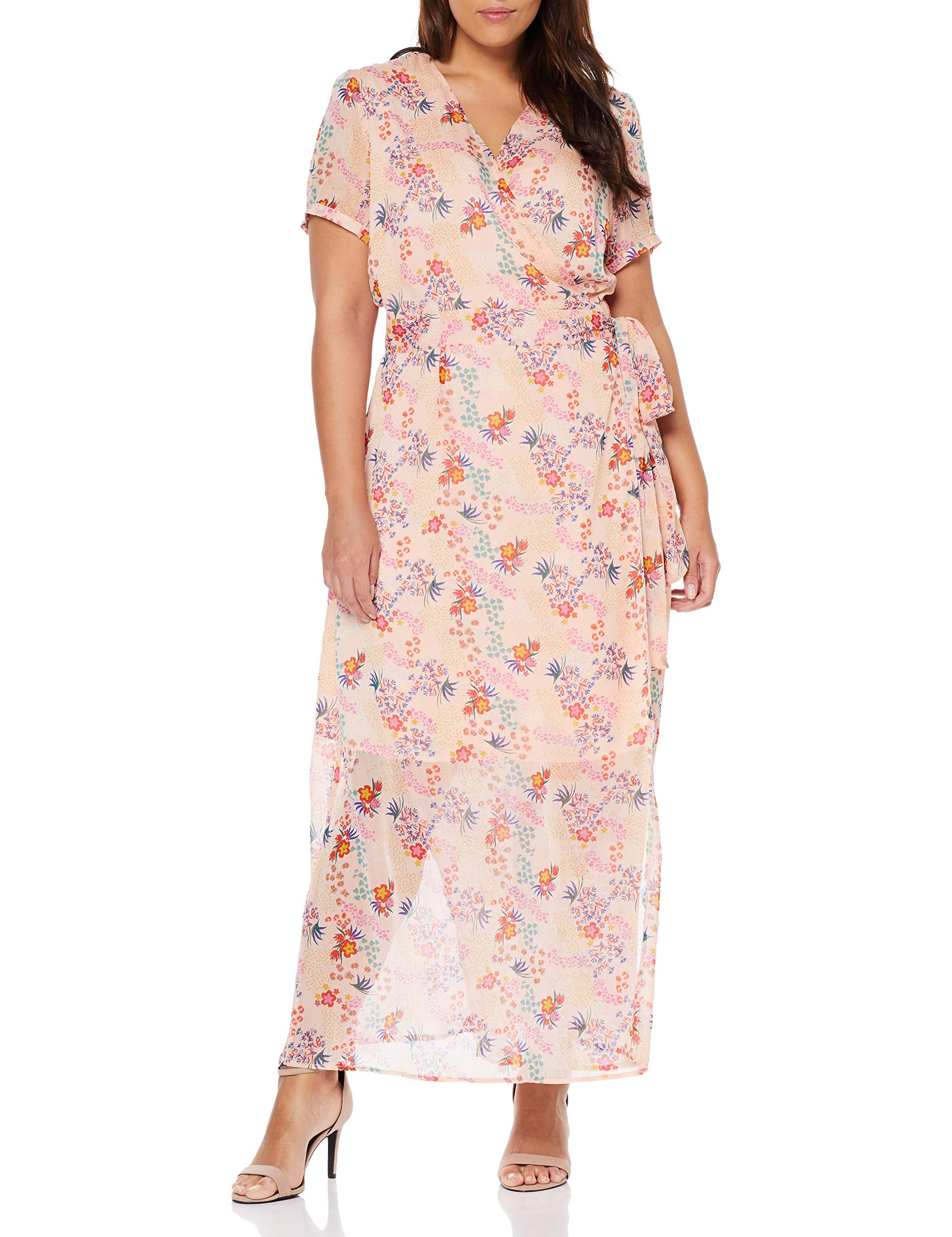 Pink Dress RobeMulticolorelight Floral Glamorous Summer Bw5150taille Wrap Curve Over Fabricant22Femme N8XOknwP0Z