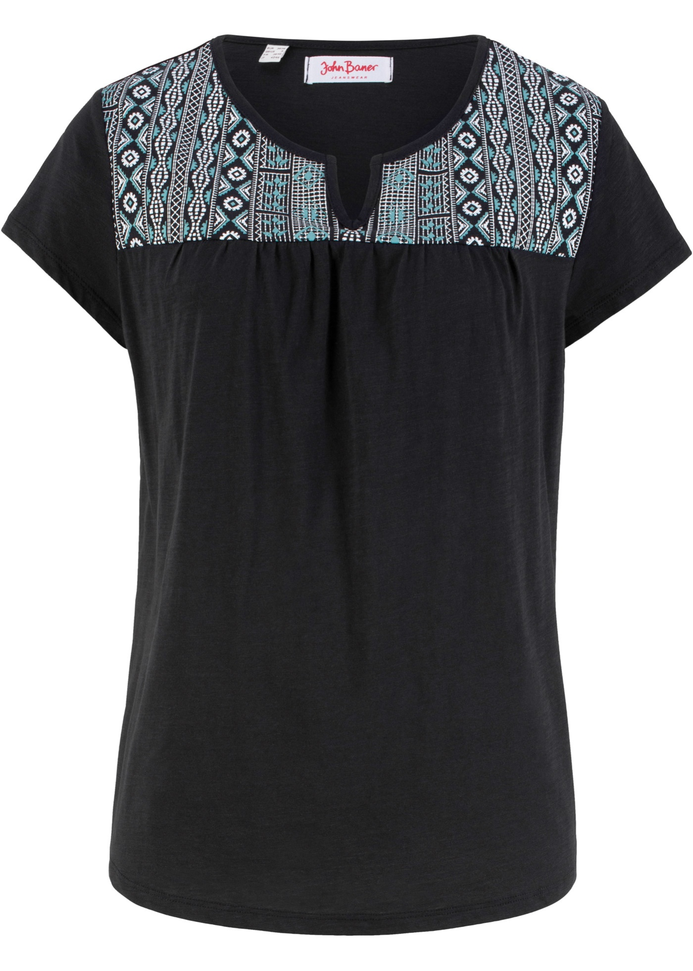Baner Femme BonprixT Pour Courtes Jeanswear ImpriméManches Coton John shirt Noir Trapèze Forme BQrCxdeWo