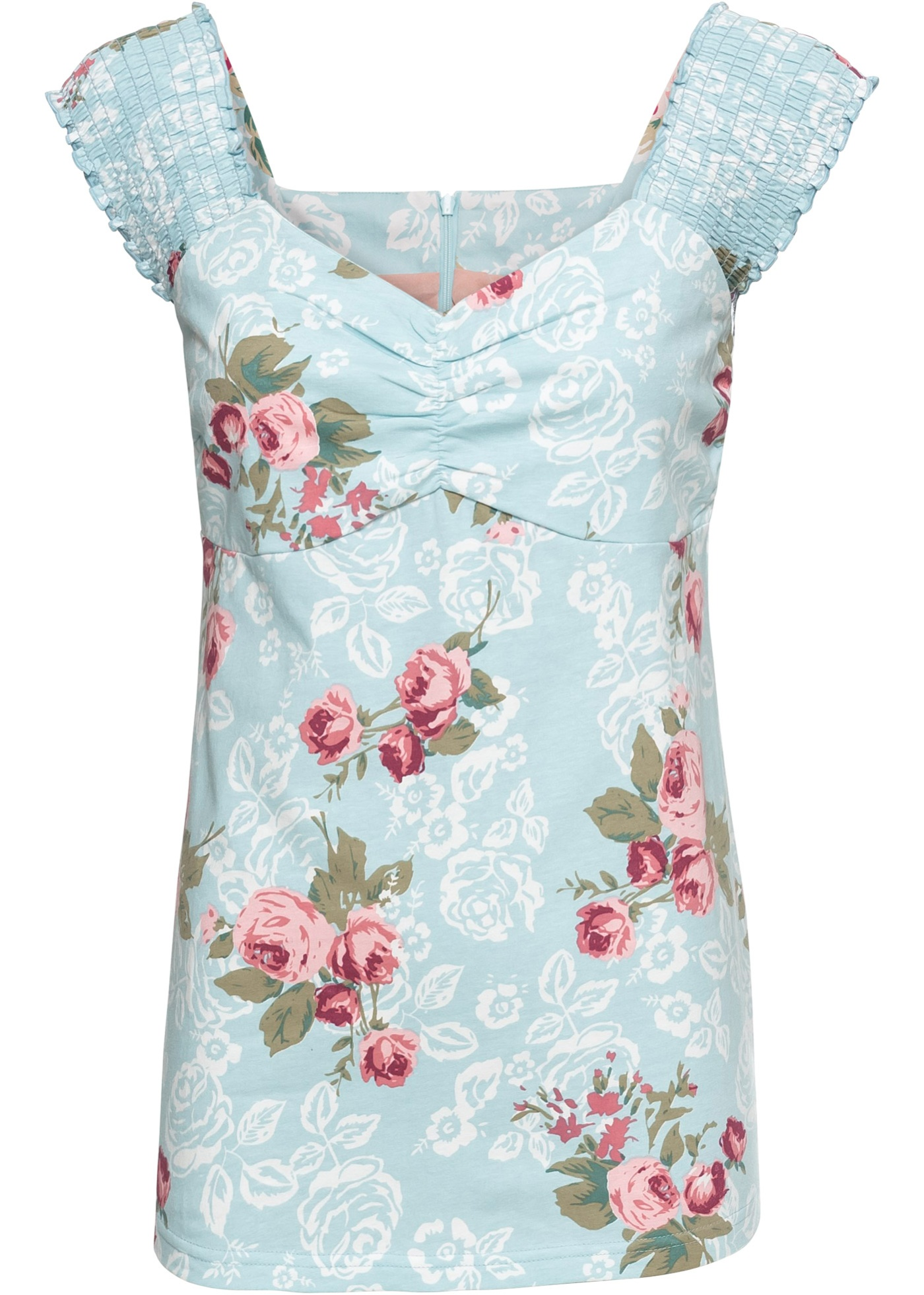 BonprixT shirt Sans Pour Fleurs À Femme Rainbow Bleu Manches mN08nw