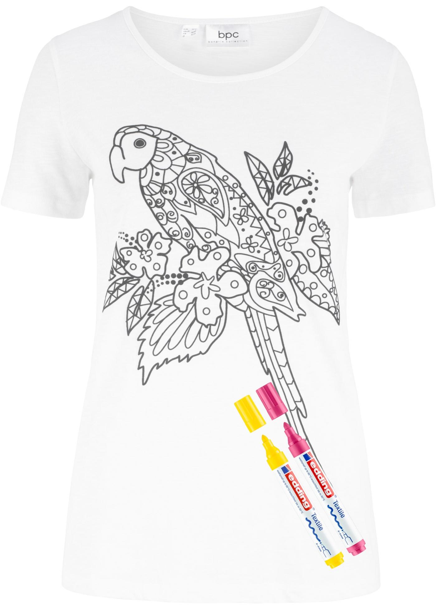 Bonprix Manches CollectionT InclusBlanc shirt Bpc Pour Coloriageavec Feutres Femme Courtes 2 4Ajq35ScLR