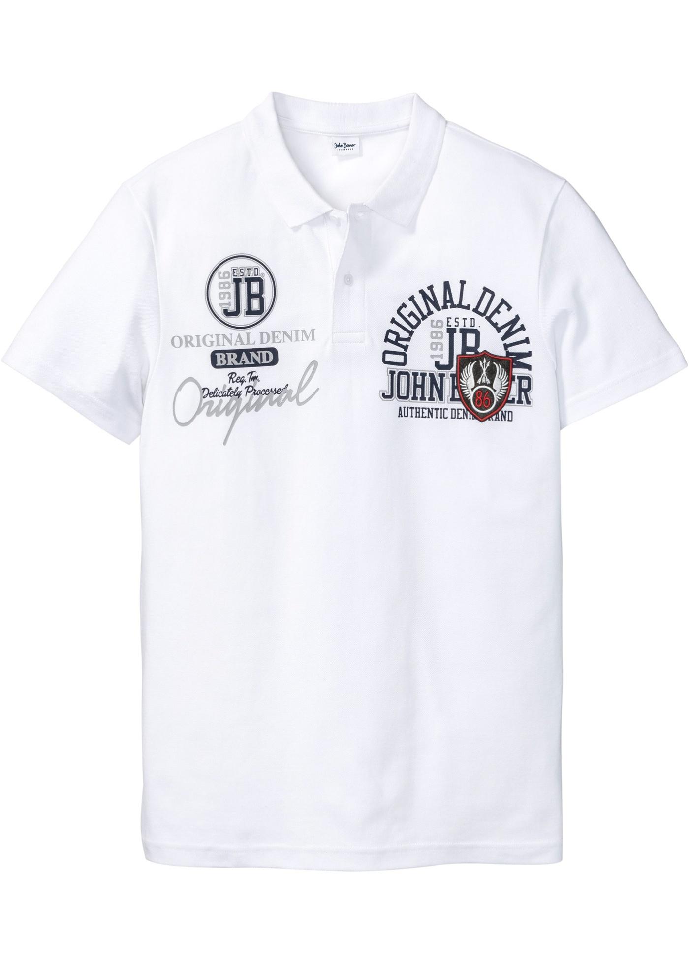 Blanc Baner ImpriméManches Homme Courtes Pour Jeanswear John BonprixPolo À y8mNP0vnwO