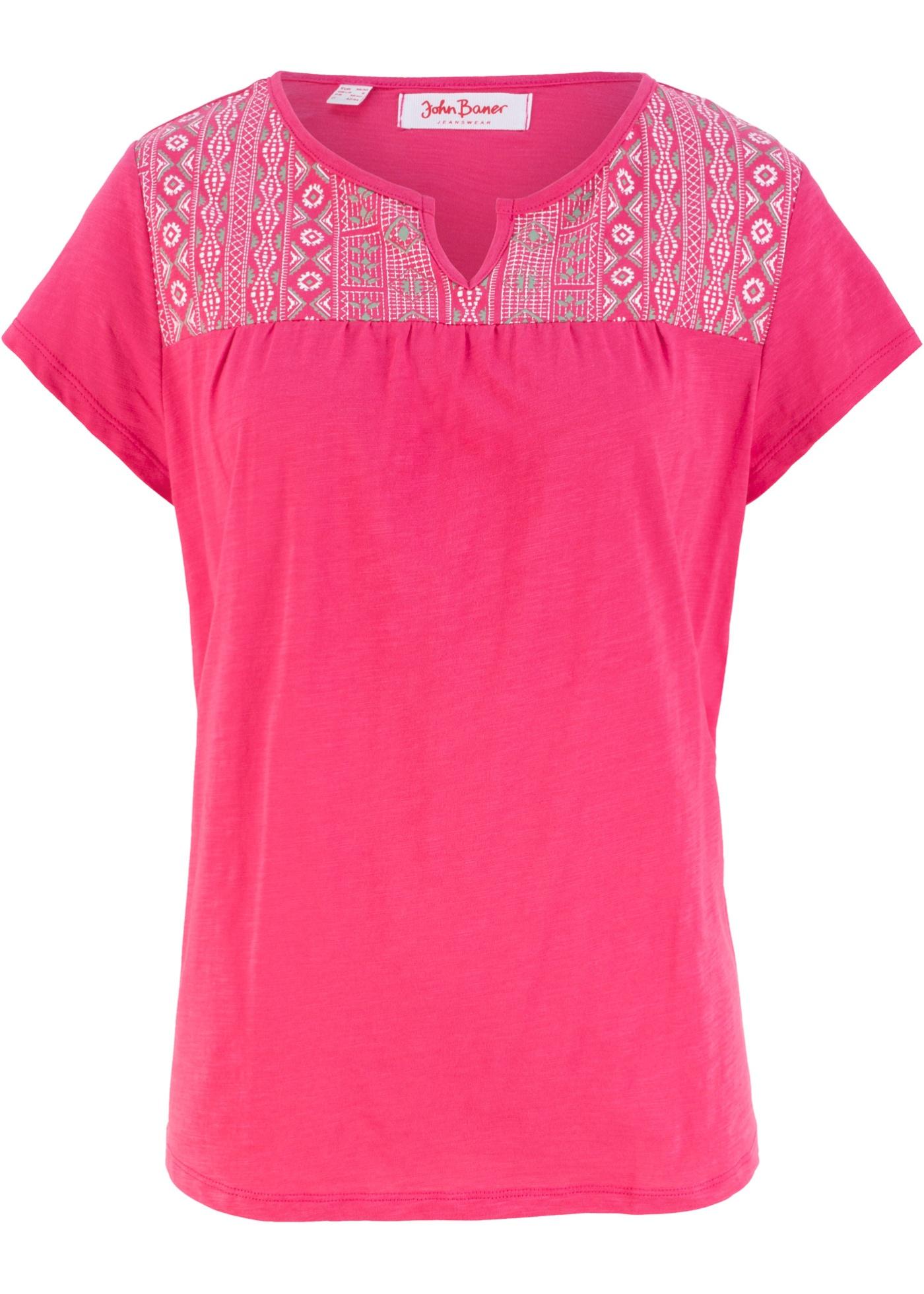 BonprixT John Baner ImpriméManches Fuchsia Pour shirt Coton Courtes Jeanswear Forme Trapèze Femme UzpSMVqG