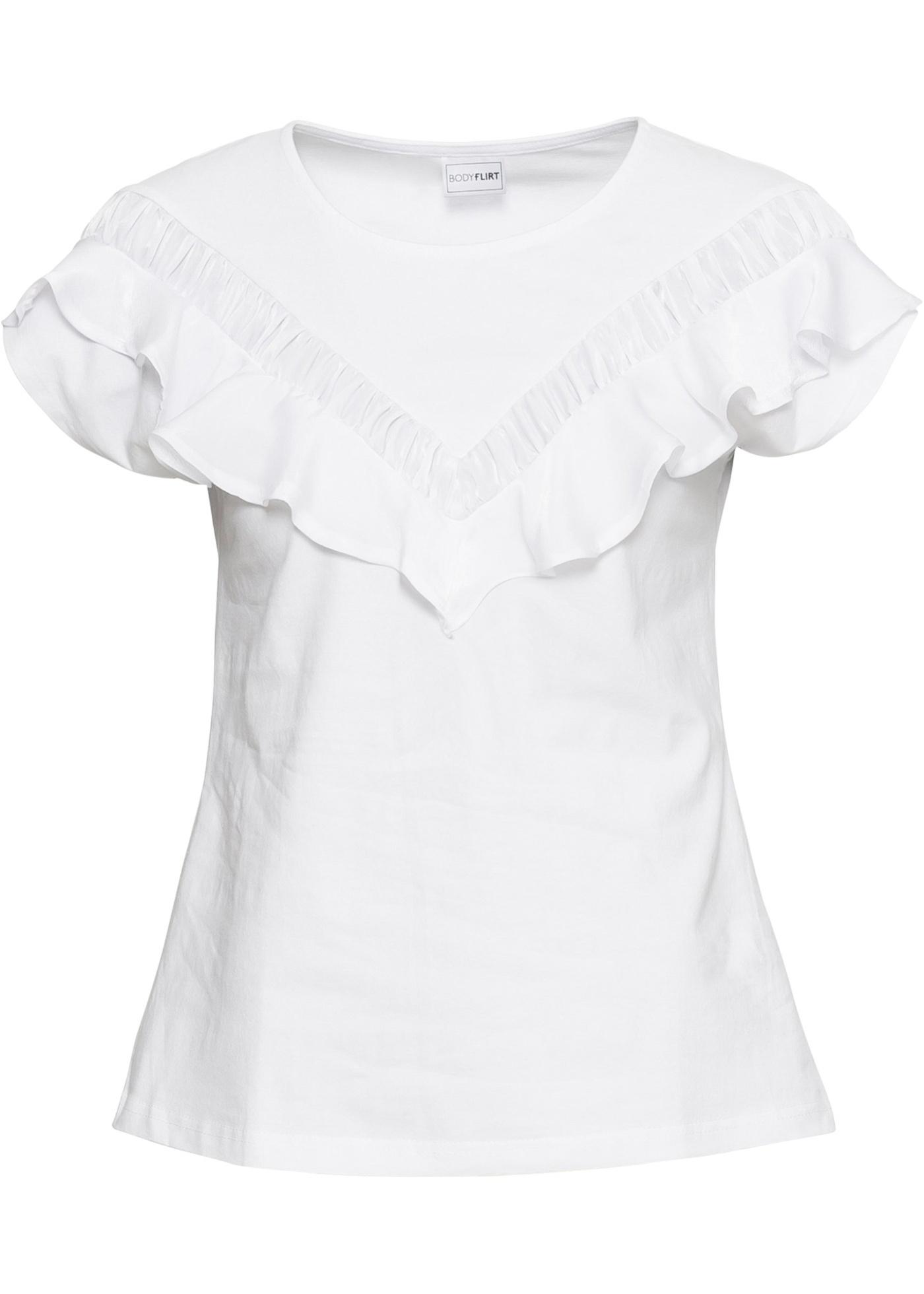 Pour shirt Blanc Manches BonprixT Courtes Bodyflirt Femme T1JKcFl3