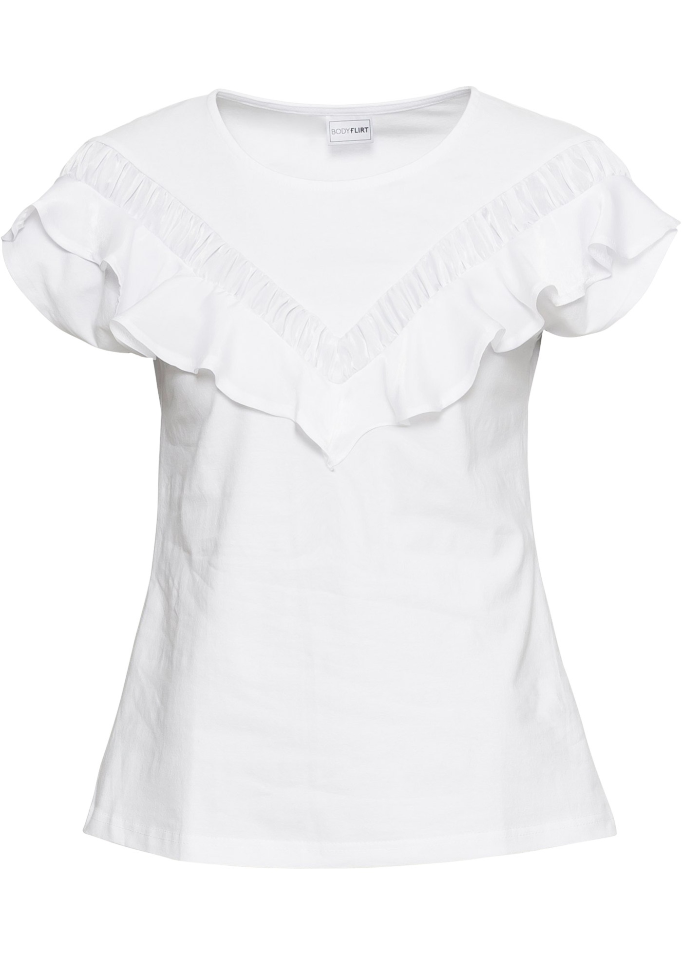 Bodyflirt Blanc shirt Courtes Femme Pour Manches BonprixT yfYbg76