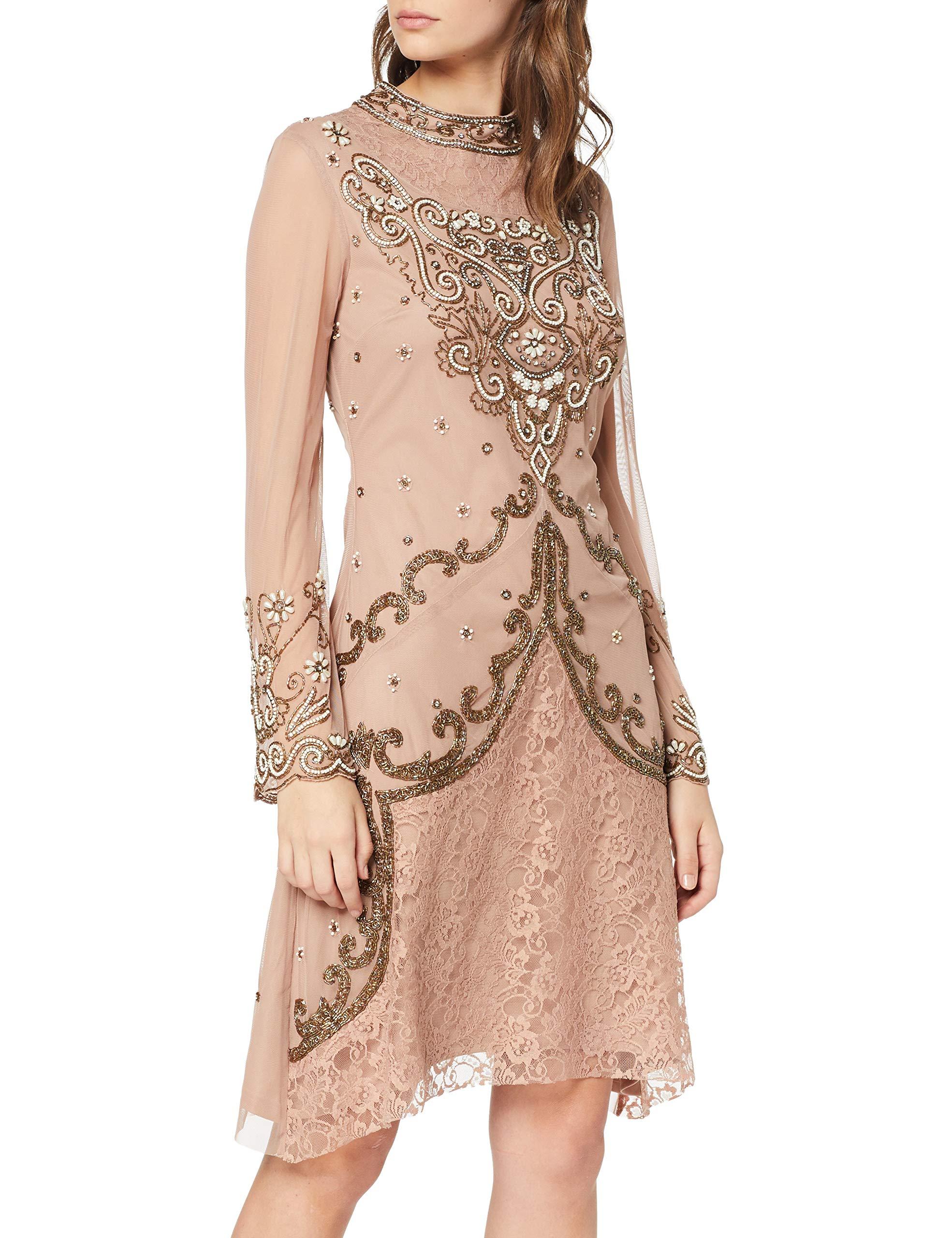 FabricantUk 10Femme Embellished Neck Pink38taille High SoiréeRosebarely Mini Frock Frill And De Robe Fatima Dress qUSVpzM