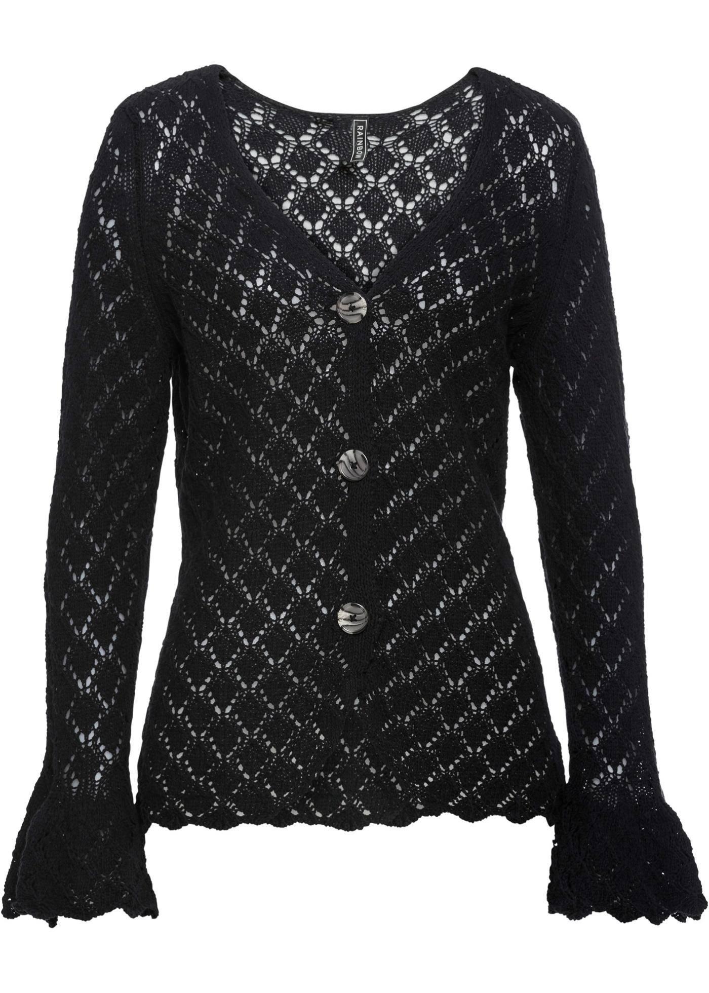BonprixGilet Pour Longues En Noir Maille Façon Femme Crochet Manches Rainbow u1FJc35KTl