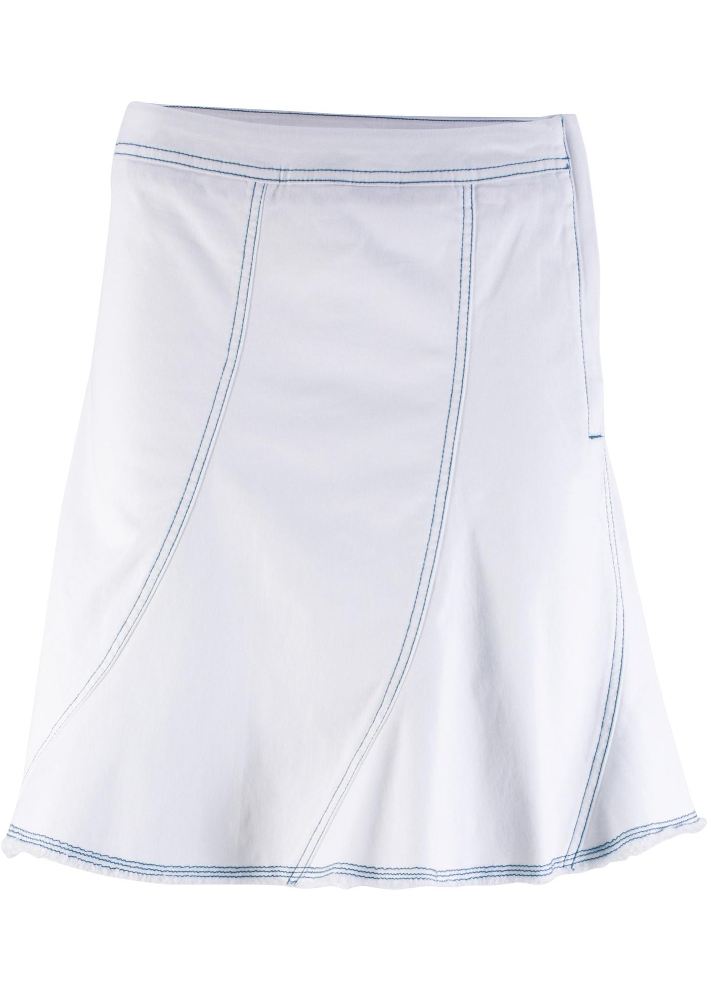 Jean BonprixJupe Extensible Blanc Femme John Baner Jeanswear En Pour QrdsthC