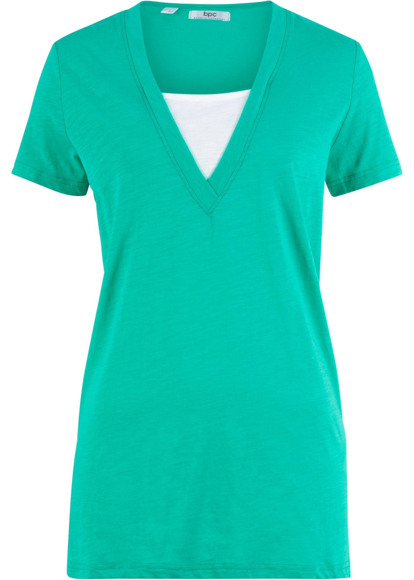 Pour Manches Bonprix Encolure Bpc Vert Courtes Doublée Femme shirt Avec CollectionT 3ulFK5TJc1