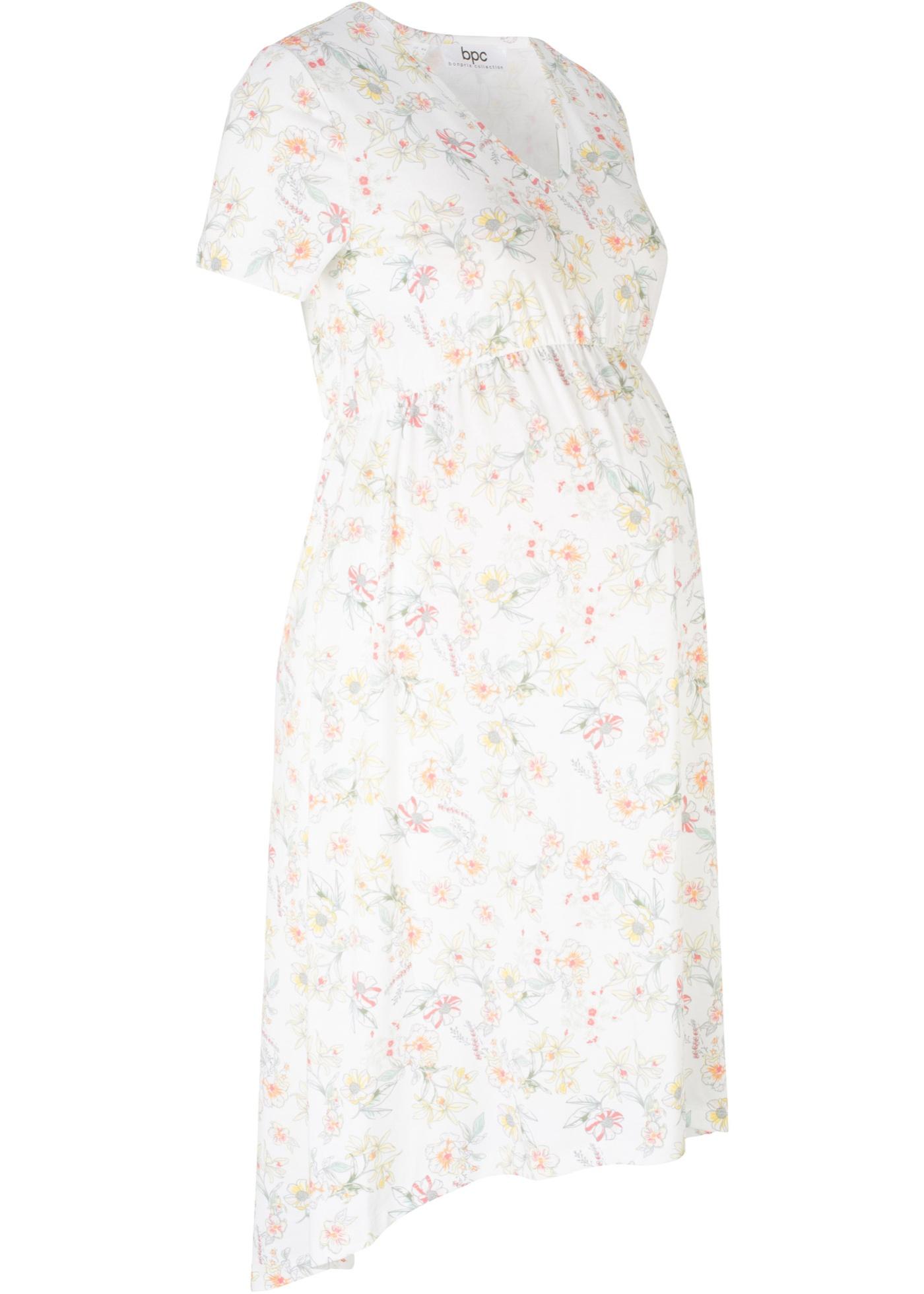 GrossesseImprimé Bonprix De CollectionRobe Blanc Pour Femme Floral Bpc Mancherons YbmyIgf76v