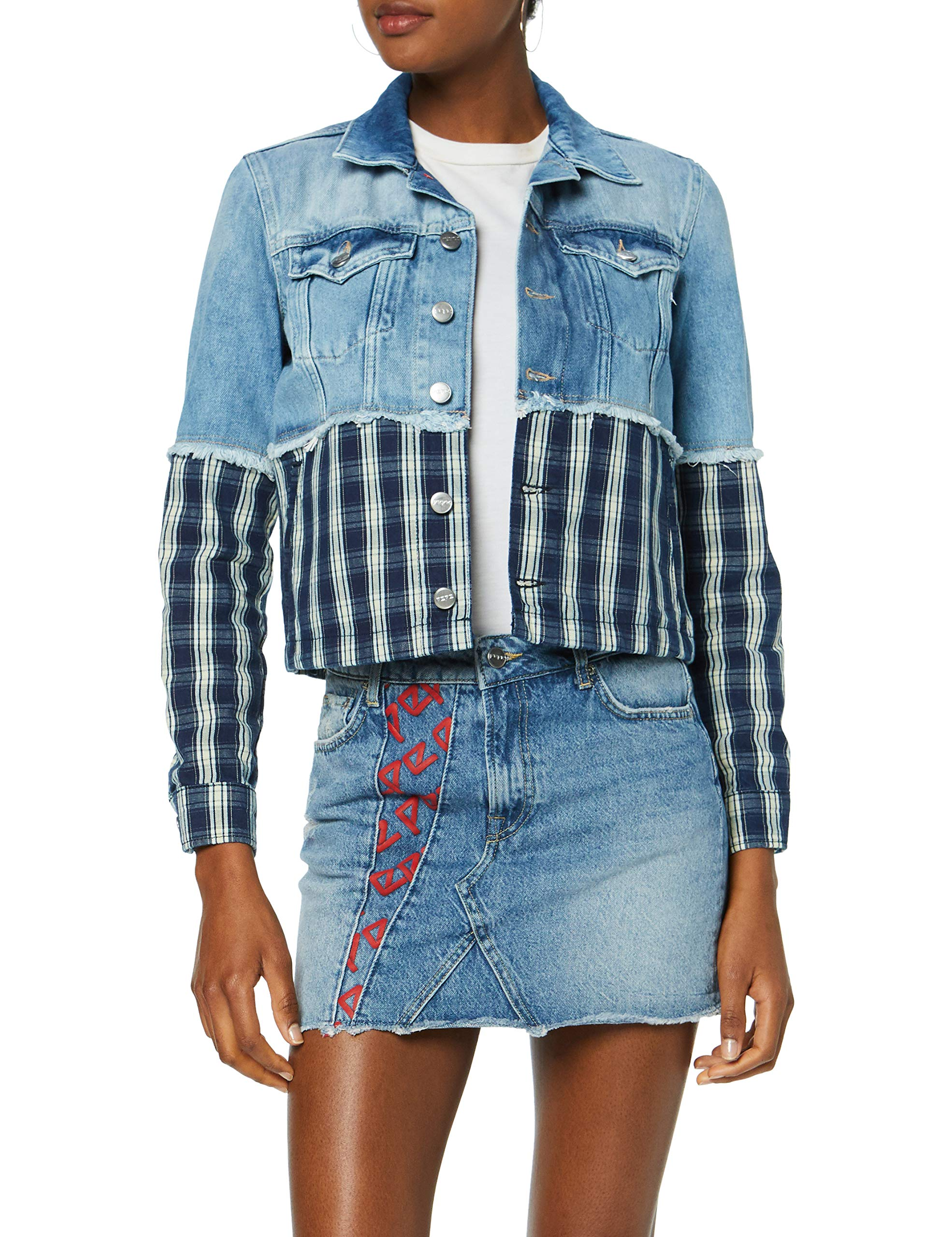 Pl401684 s FemmeBleu11oz Blouson Mix Denim Fabricant Check Jeans Pepe Jess 000Smalltaille 80NmnwOyv