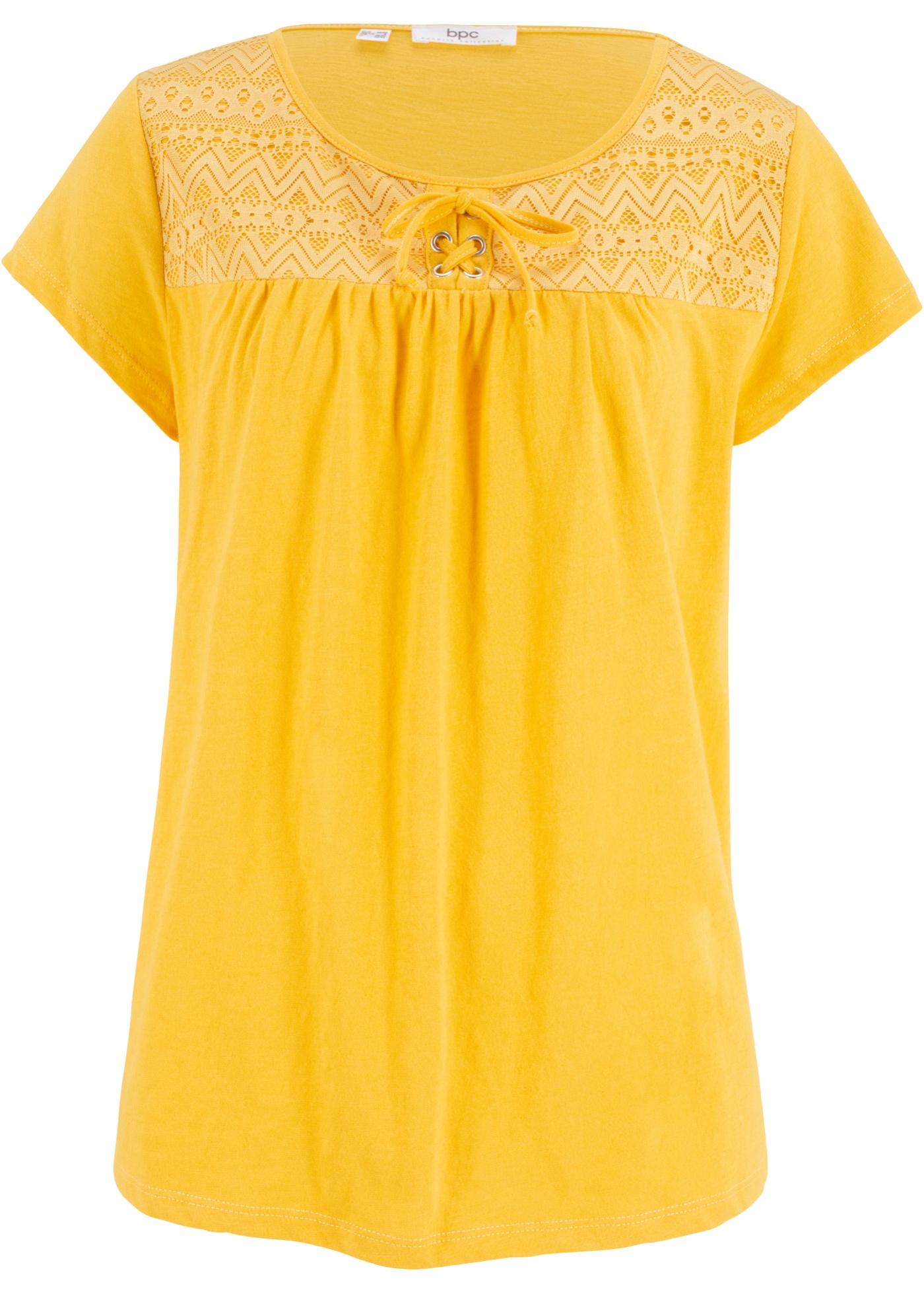 Coton Manches CollectionT Courtes En Flammé Fil Laçage Bonprix Femme Avec shirt Bpc Jaune Pour nm8vN0w