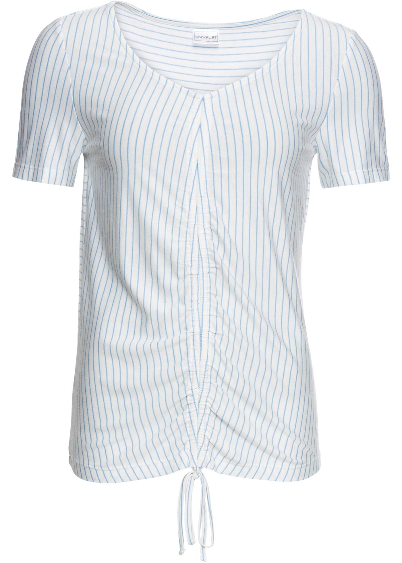 Femme Fronces Bodyflirt Pour Blanc Manches BonprixT shirt À Courtes VpqUzMSG