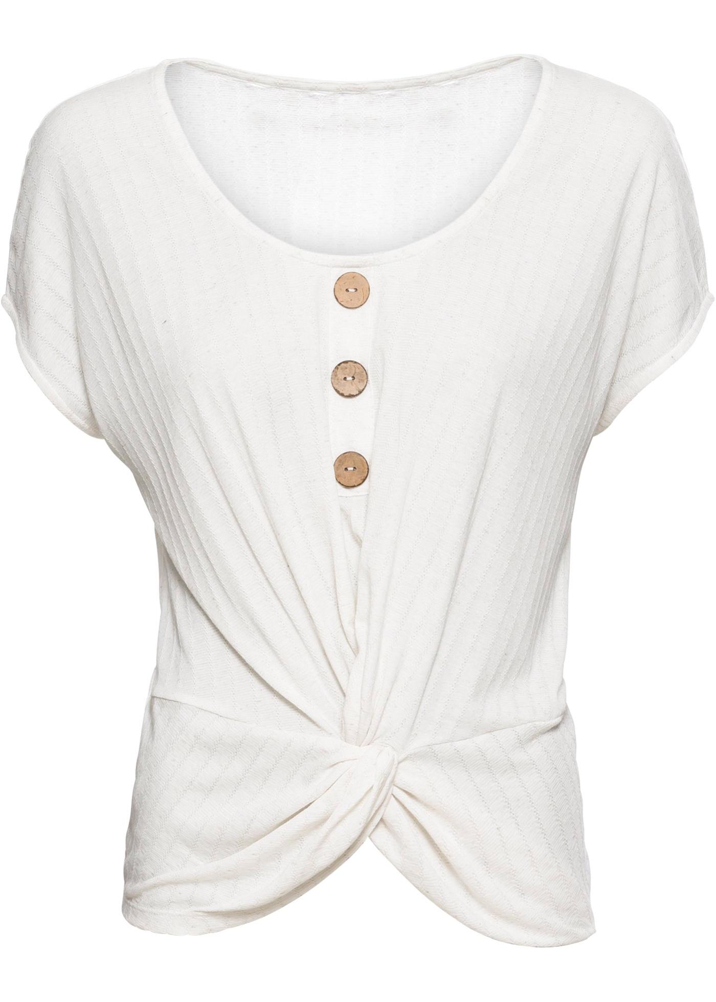 Femme Courtes shirt Lin Manches Bodyflirt Pour BonprixT Avec Blanc 0knw8OP