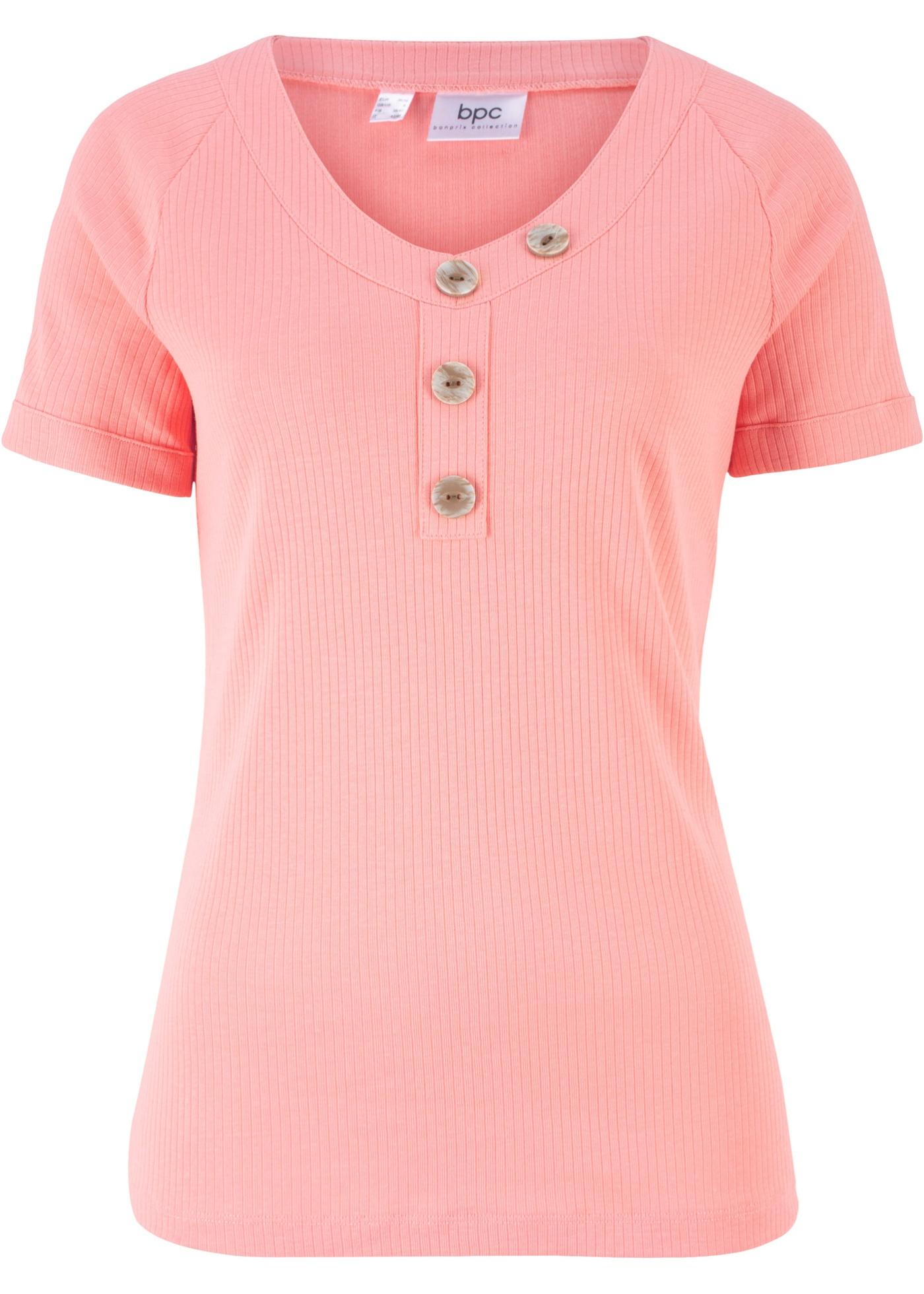 Bpc Côtelé Pour CollectionT Bouton Avec Bonprix Femme Manches Détail Rouge shirt Courtes BodCerx