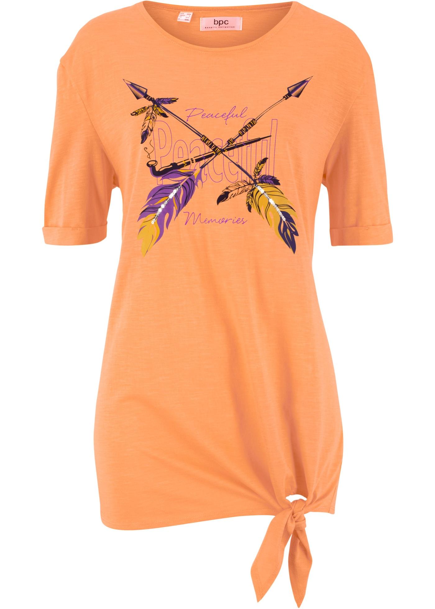 Pour CollectionT Coton Et Paillettes Bpc Bonprix Orange shirt Détail Femme Nœud longues Manches Mi À b7y6fg