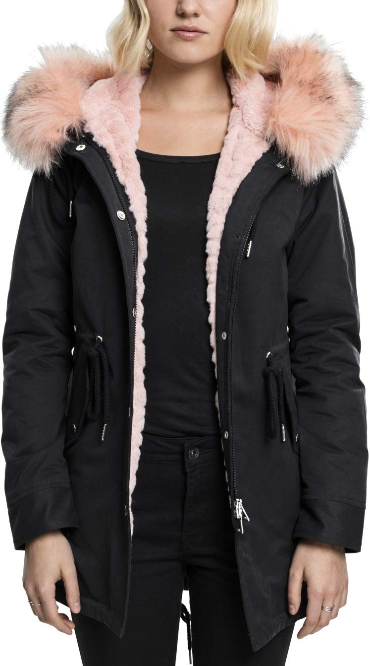 Peached Teddy Parka Lined Femme Ladies Noirblack Classics 7M Urban nw8ON0kXP