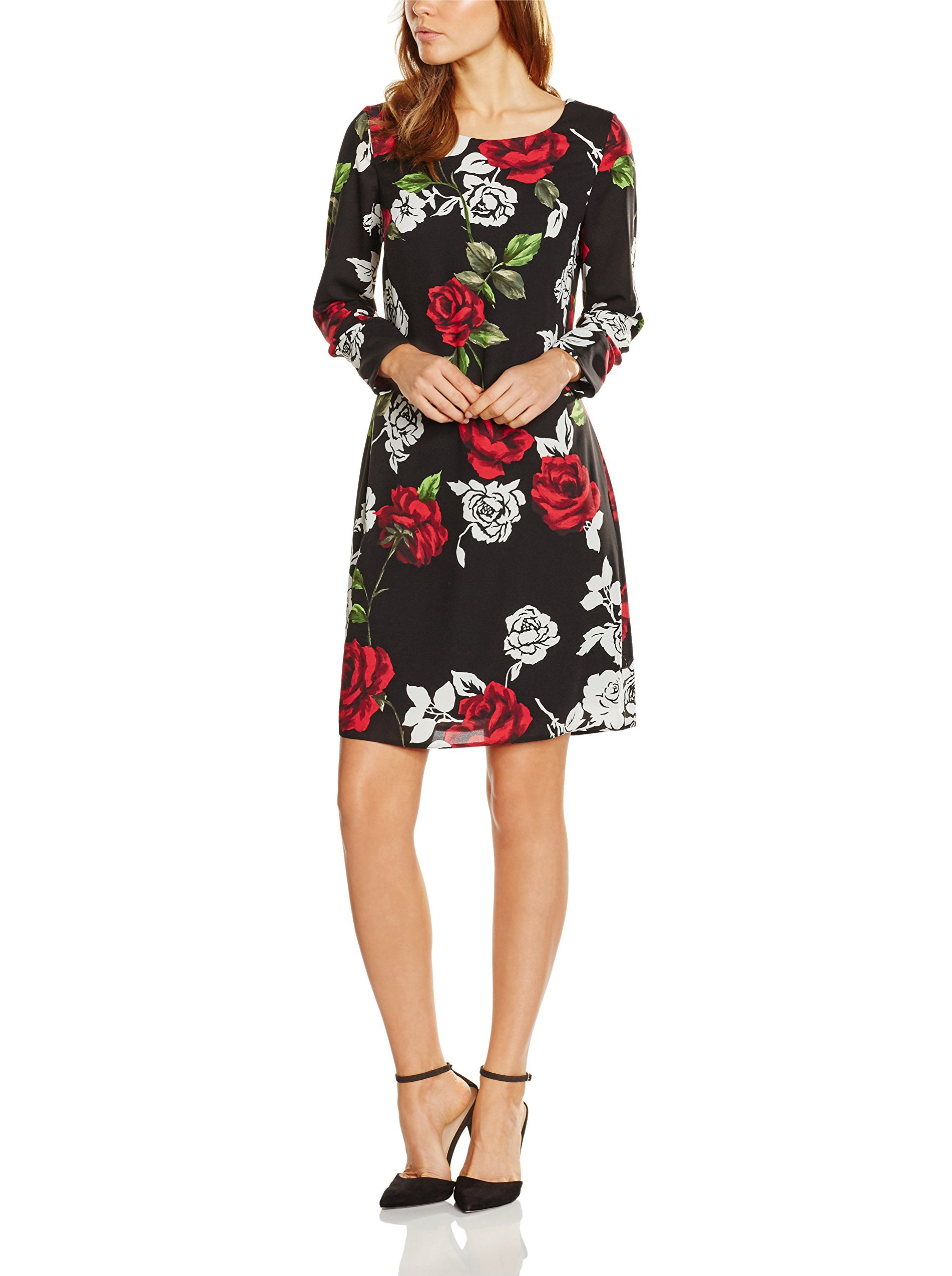 Rose Bacconi Femme BlackredBlack42taille Gina Trapèze Noir GeorgetteRobe Manches Longues Fabricant14 Modern 1JlcT3FuK