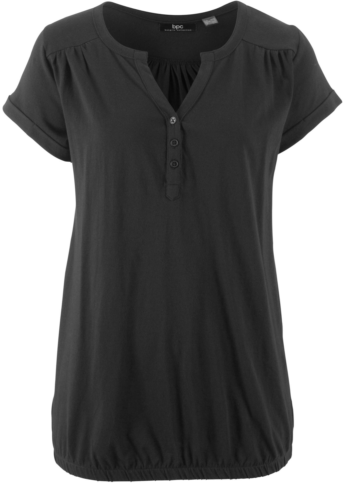 Bonprix Manches Bpc Patte shirt Avec De Courtes Noir Femme Pour CollectionT Boutonnage E29WYeDIH