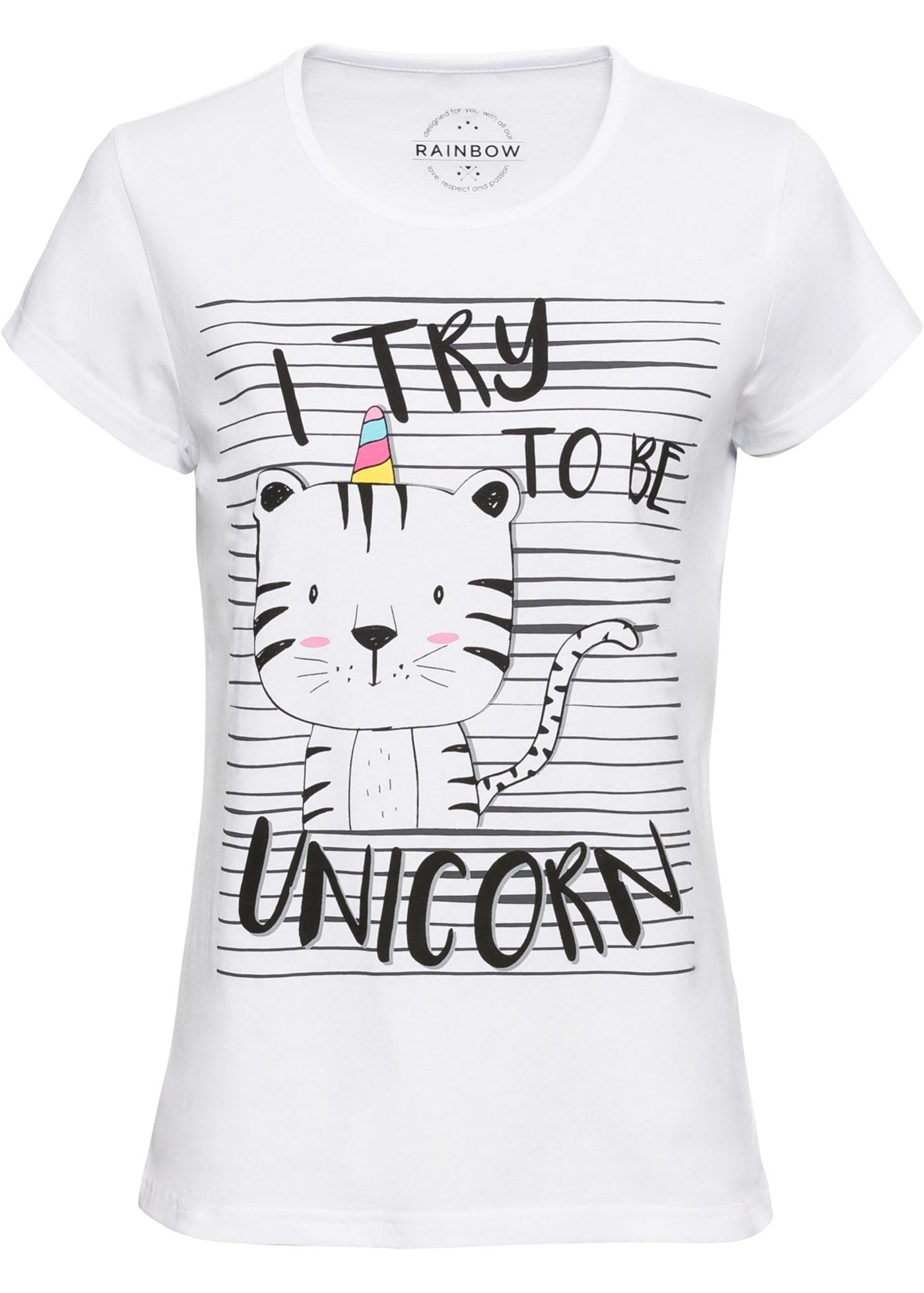 shirt Manches Imprimé Pour Femme Rainbow Courtes Blanc BonprixT 7Y6yImfgvb