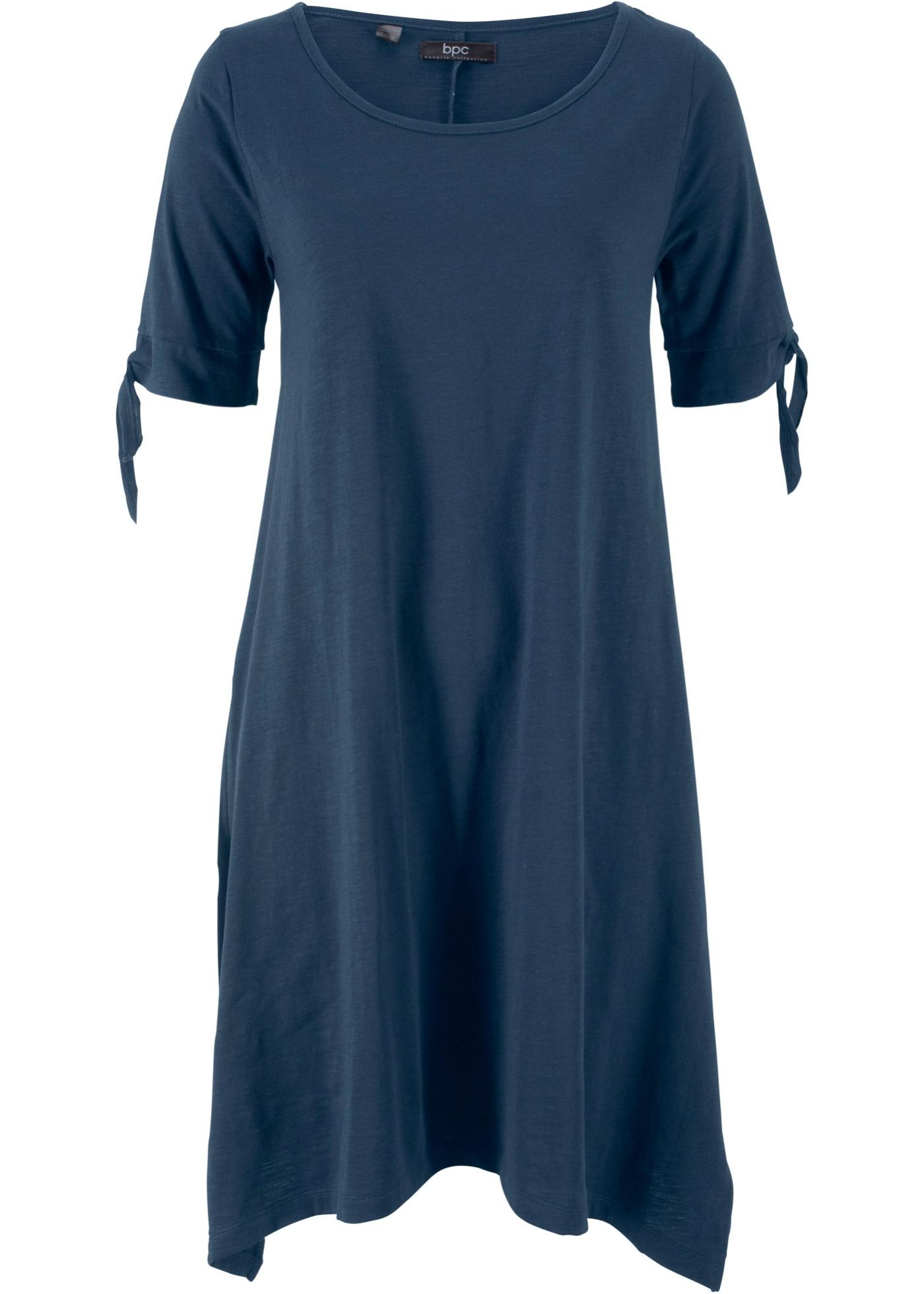 Manches Flammé Fendues Femme Bpc Courtes En Épaules D'été Avec Coton CollectionRobe Fil Bonprix Bleu Pour Jersey O0P8nkXw