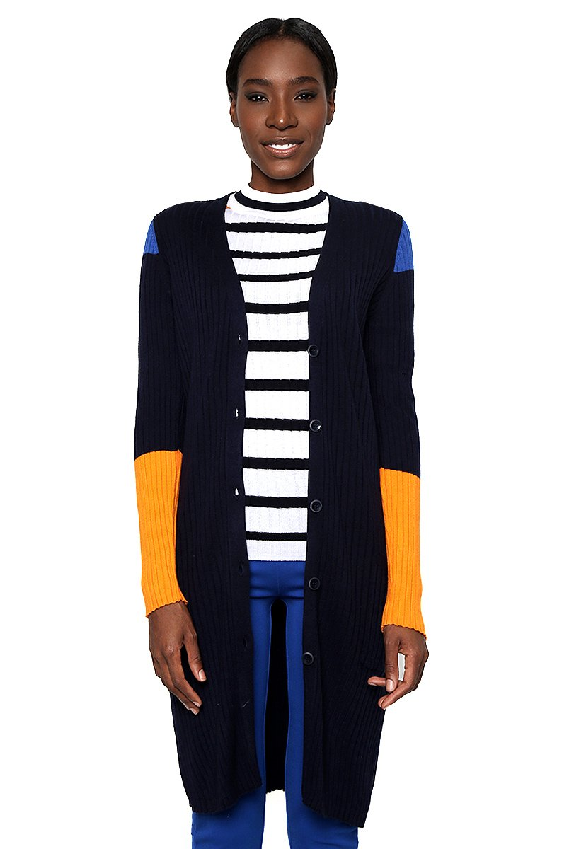 Cardigan Of GiletBleunavySmall Benetton United Knit Ribbed Colors Longline Femme X8wPnkZN0O