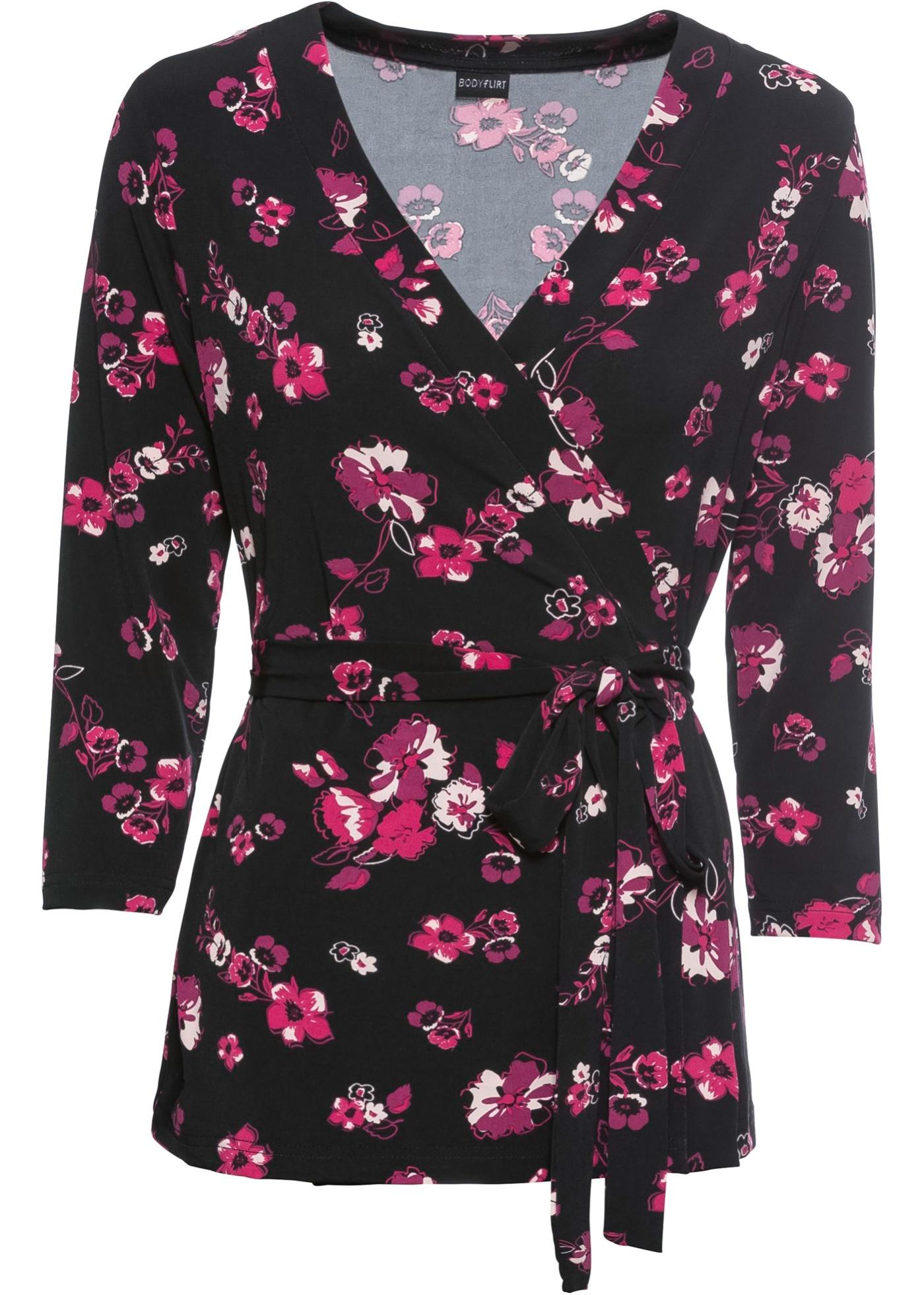 4 Pour Manches shirt 3 Bodyflirt BonprixT Femme cœur Cache Noir vbgf6IY7y